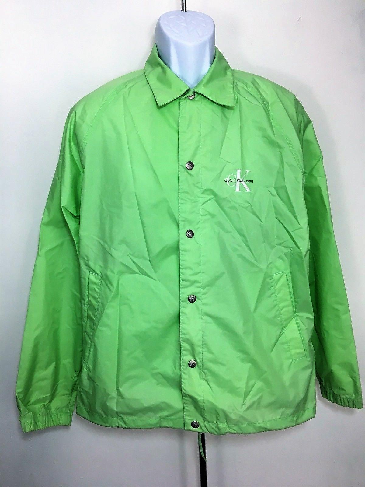 f487d21a053 Calvin Klein Calvin Klein Coach Jacket Vintage 90s Ck Windbreaker Rap Hip  Nylon Button Size Medium M Gift Idea Classy Green Jeans Sport