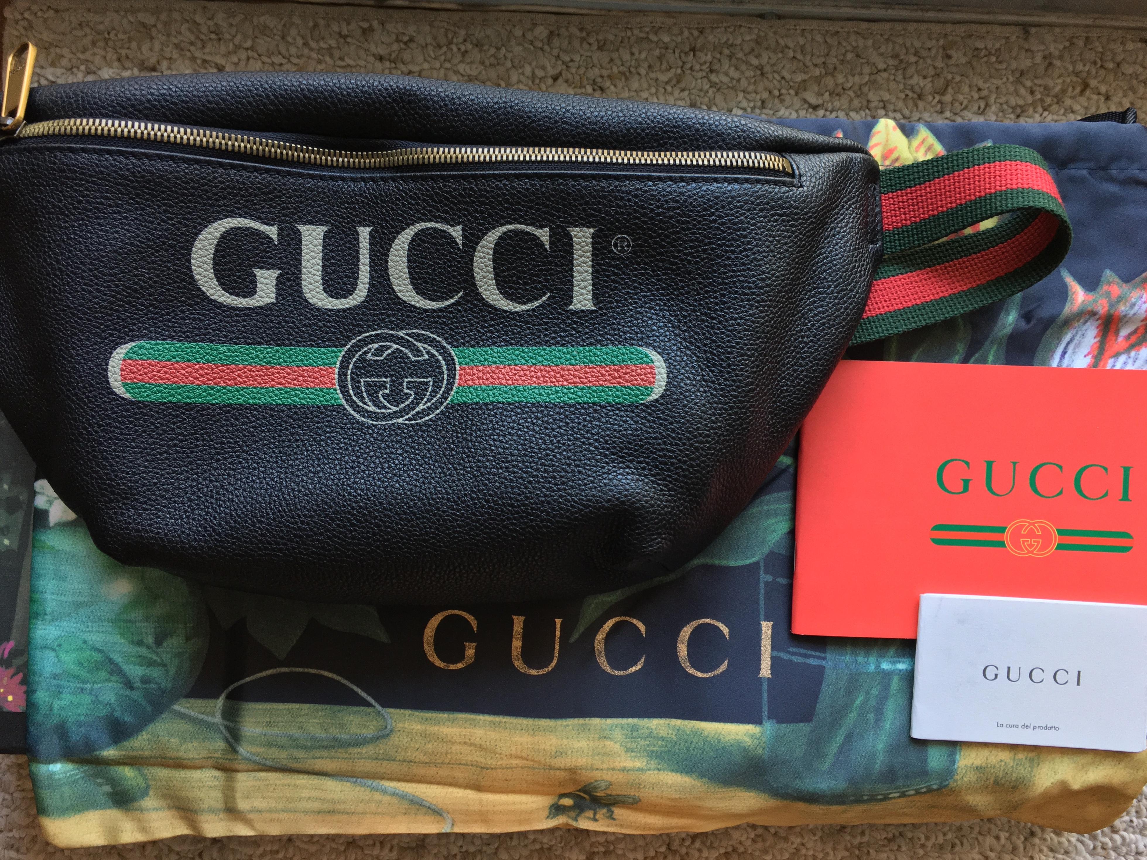 d7c50228b49 Gucci Gucci Print Leather Belt Bag   Size Gucci 90