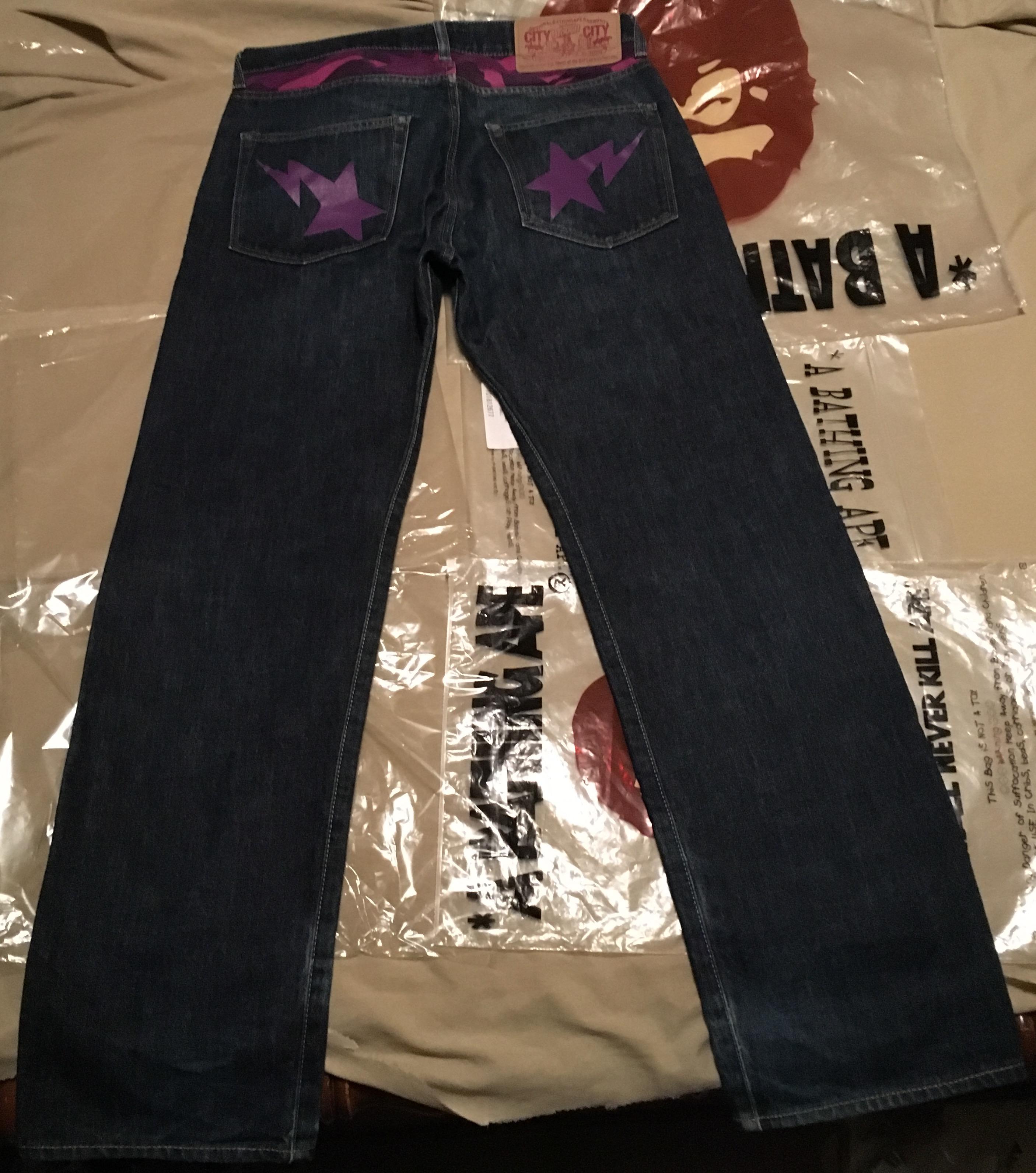4da53146a Bape Og Bape Purple Camo Denim Jeans Bapesta | Grailed