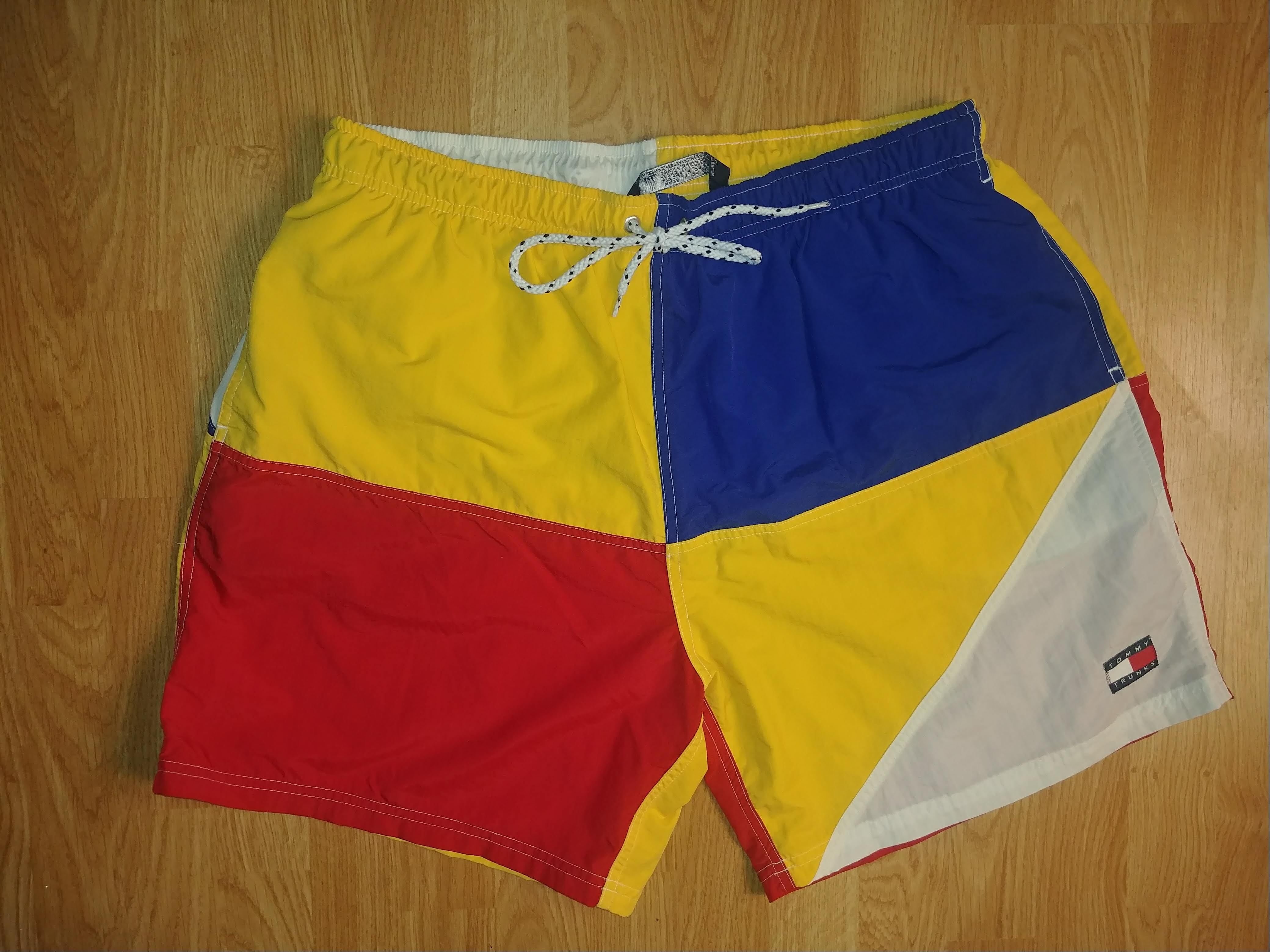 ba85b007ab Tommy Hilfiger ×. Vintage 90's Tommy Hilfiger Color Block Swim Trunks  Sailing Shorts