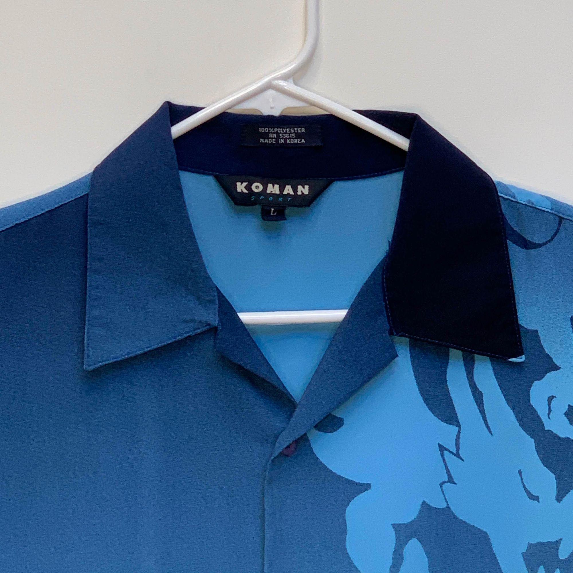Koman Koman Sport Mens Dragon Print Shirt Blue Large [ 2000 x 2000 Pixel ]