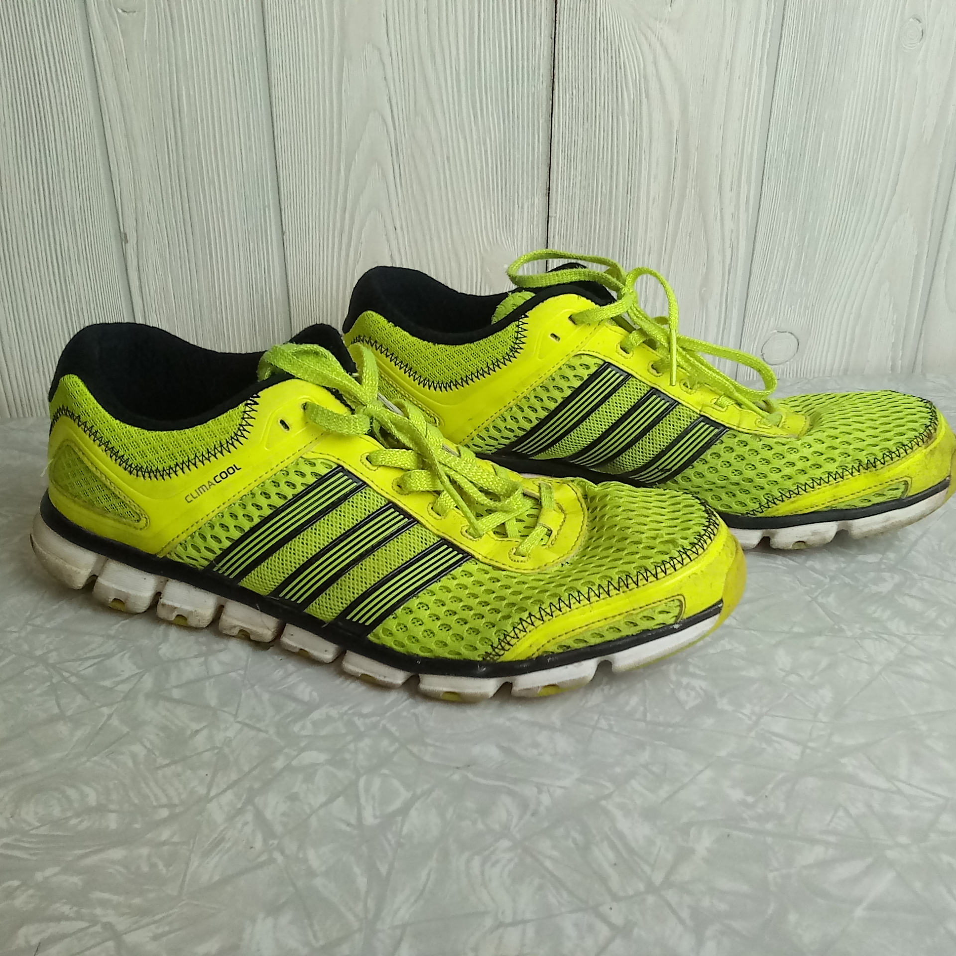 online retailer 69579 ad50c Adidas ClimaCool Men's 12 Neon Yellow Sneakers Shoes Aerated Mesh G59790