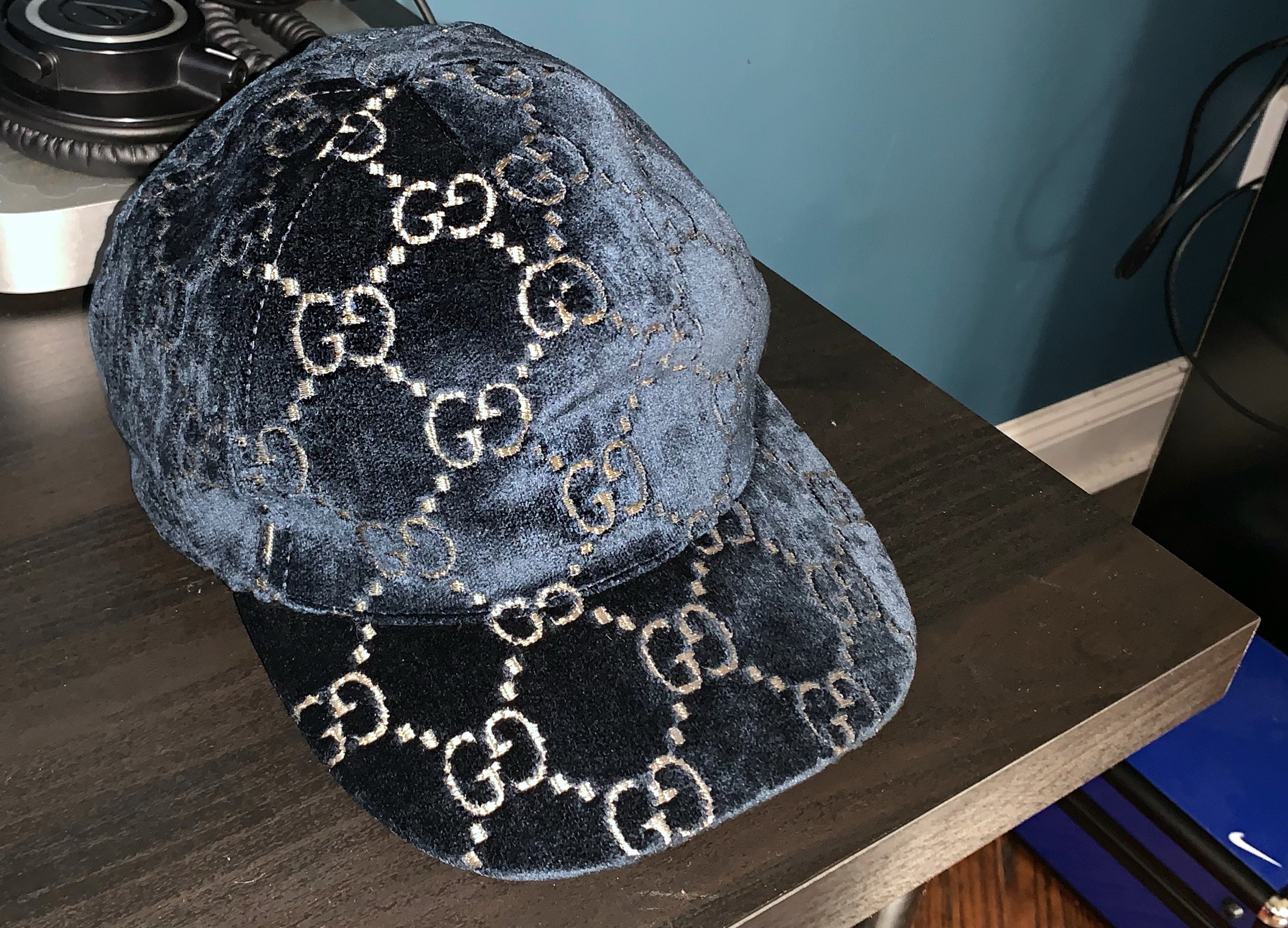 b6a782d9578 Gucci GG Velvet Baseball Cap Size one size - Hats for Sale - Grailed