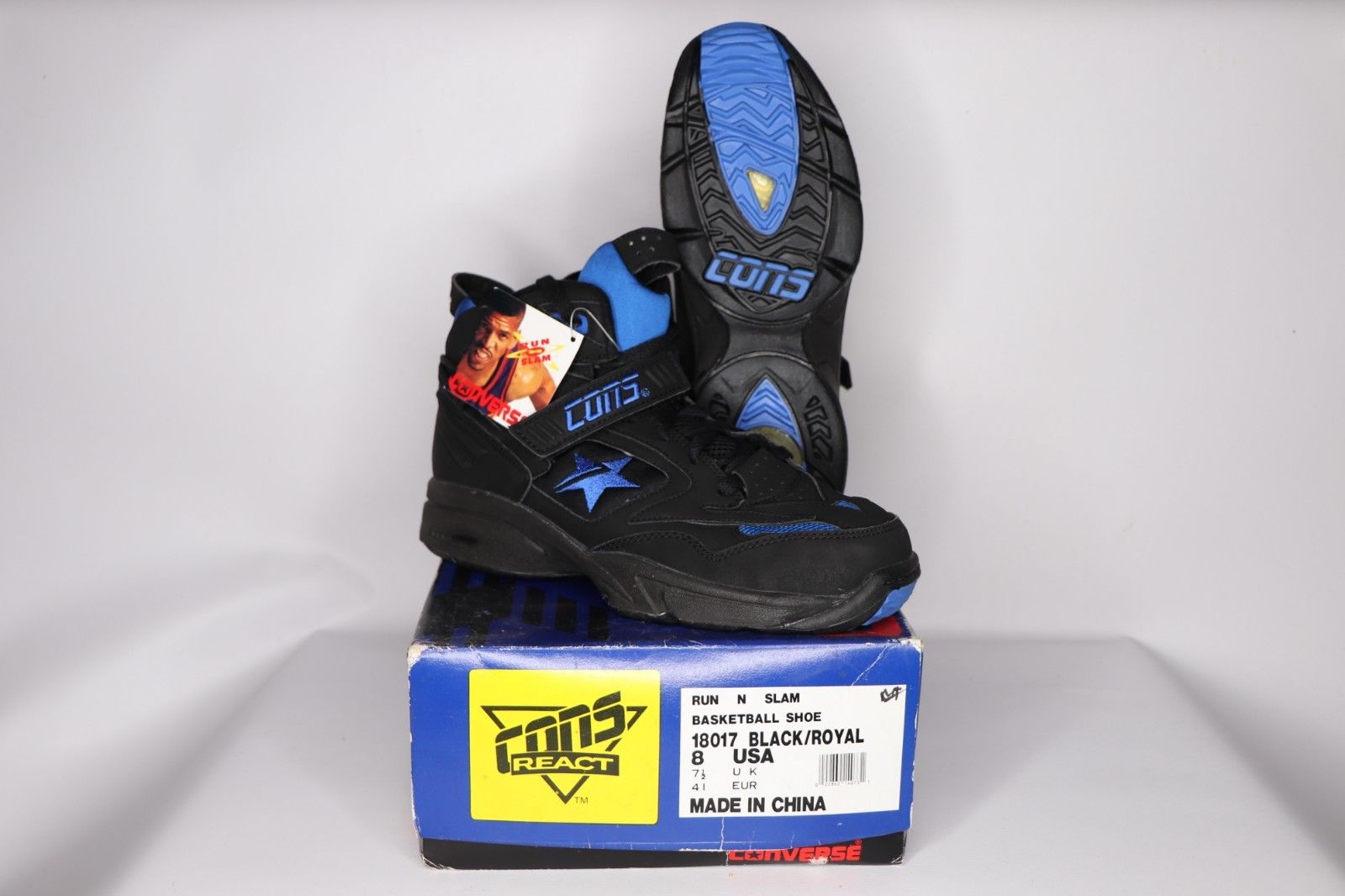 Vintage 90s New Converse Mens 8 Kevin Johnson Run N Slam Cons React Shoes  Black Blue