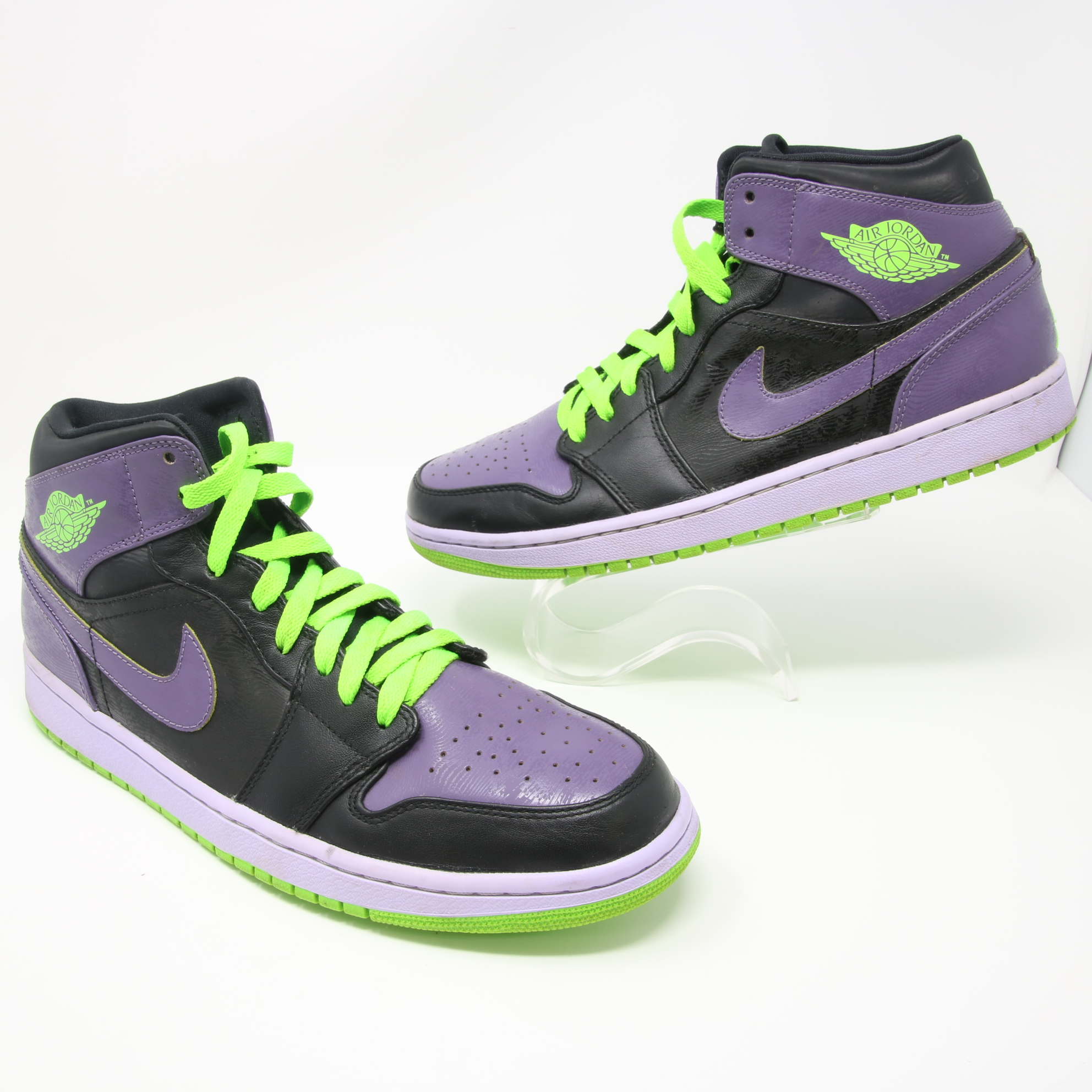 new style e6053 7b08e Nike ×. Signature Nike Air Jordan 1 Retro Joker Stealth Electric Green  Purple Sneakers 136065-021 Size 10. Size  US 10   EU 43