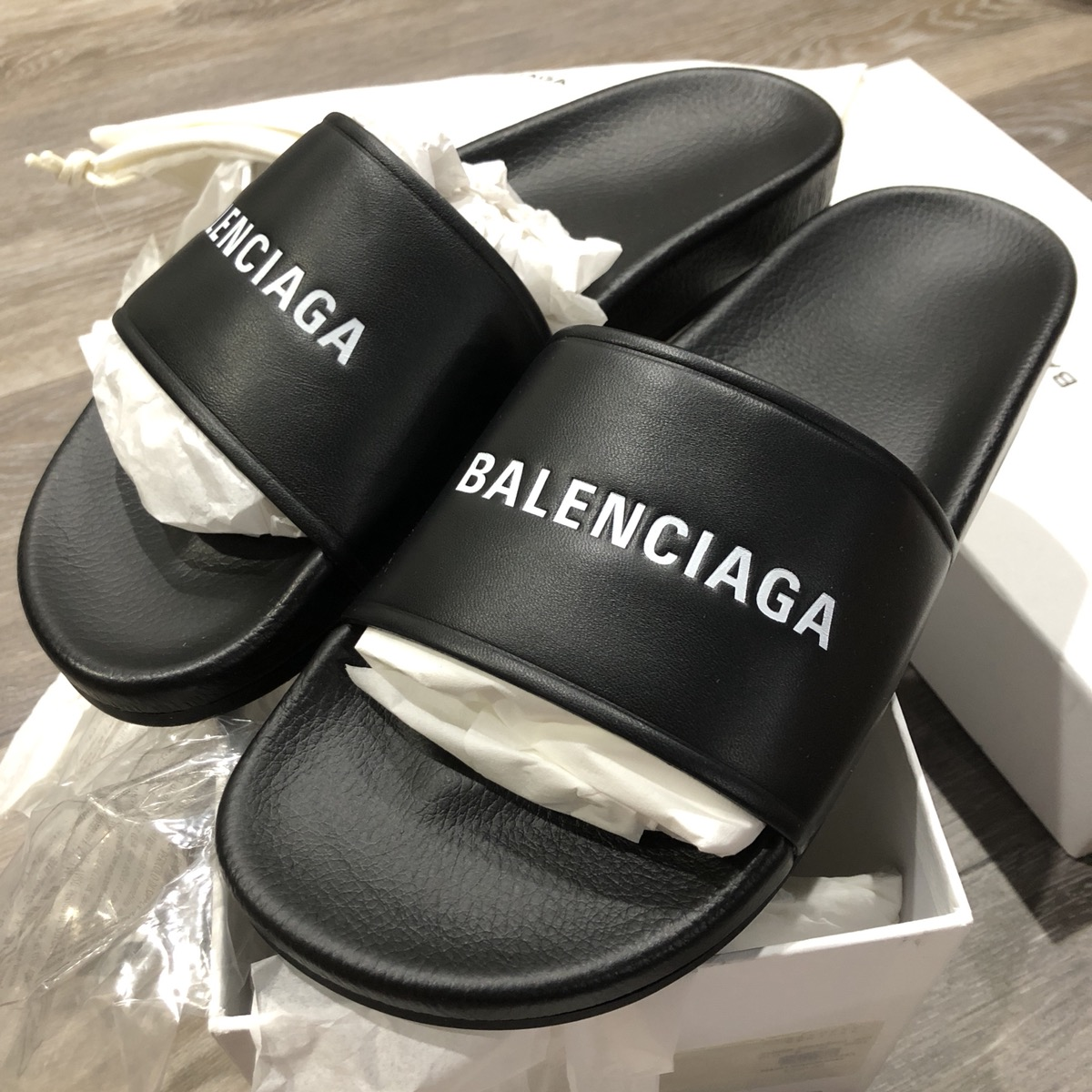 0d2b41f6b9ed Balenciaga ×.  FINAL PRICE  NIB - Balenciaga Logo Leather Pool Slides. Size   US 9 ...