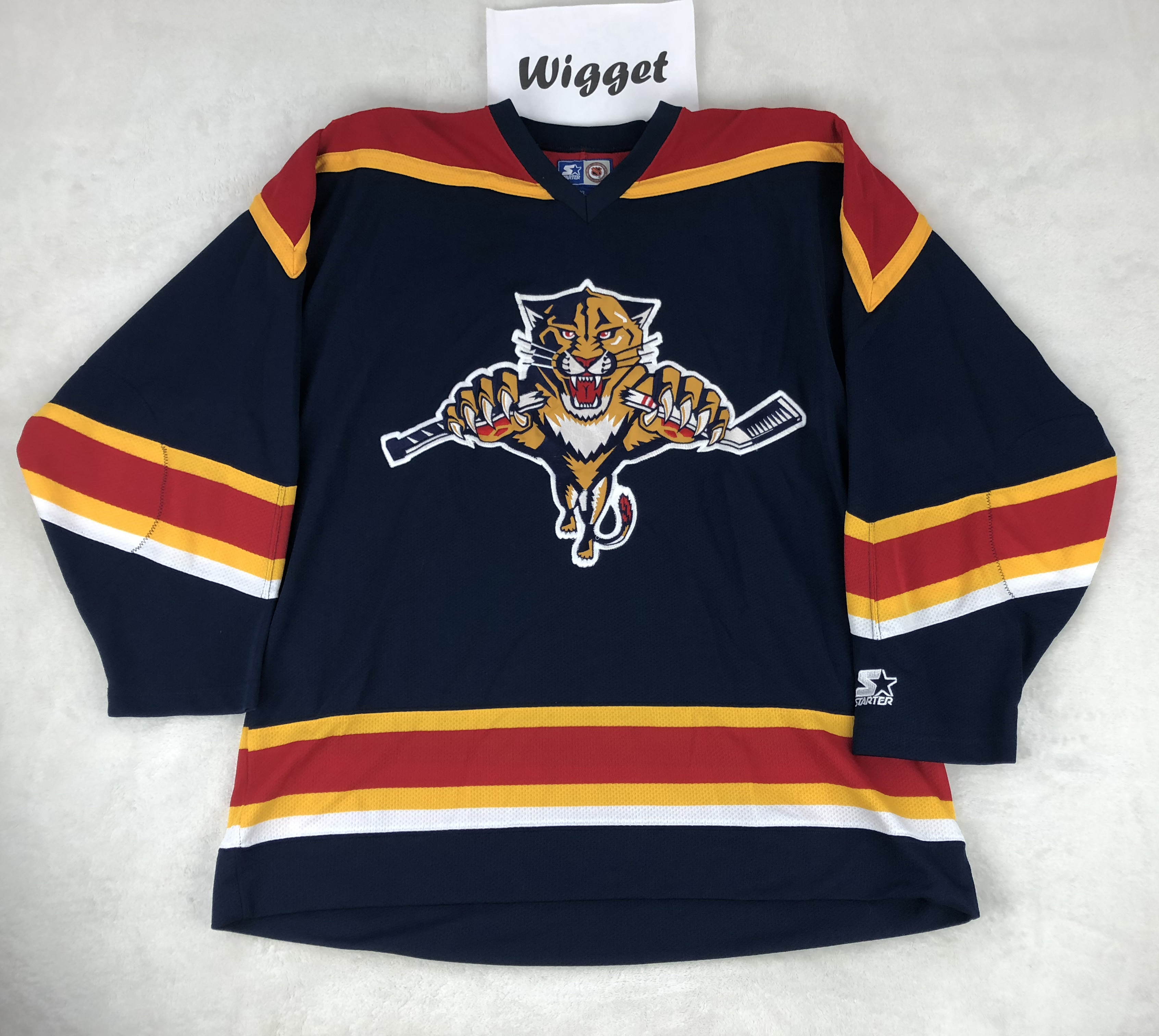 release date 97cf6 89ba0 Vintage Starter Jersey big logo Florida Panthers hockey Navy yellow red XL  Extra Large