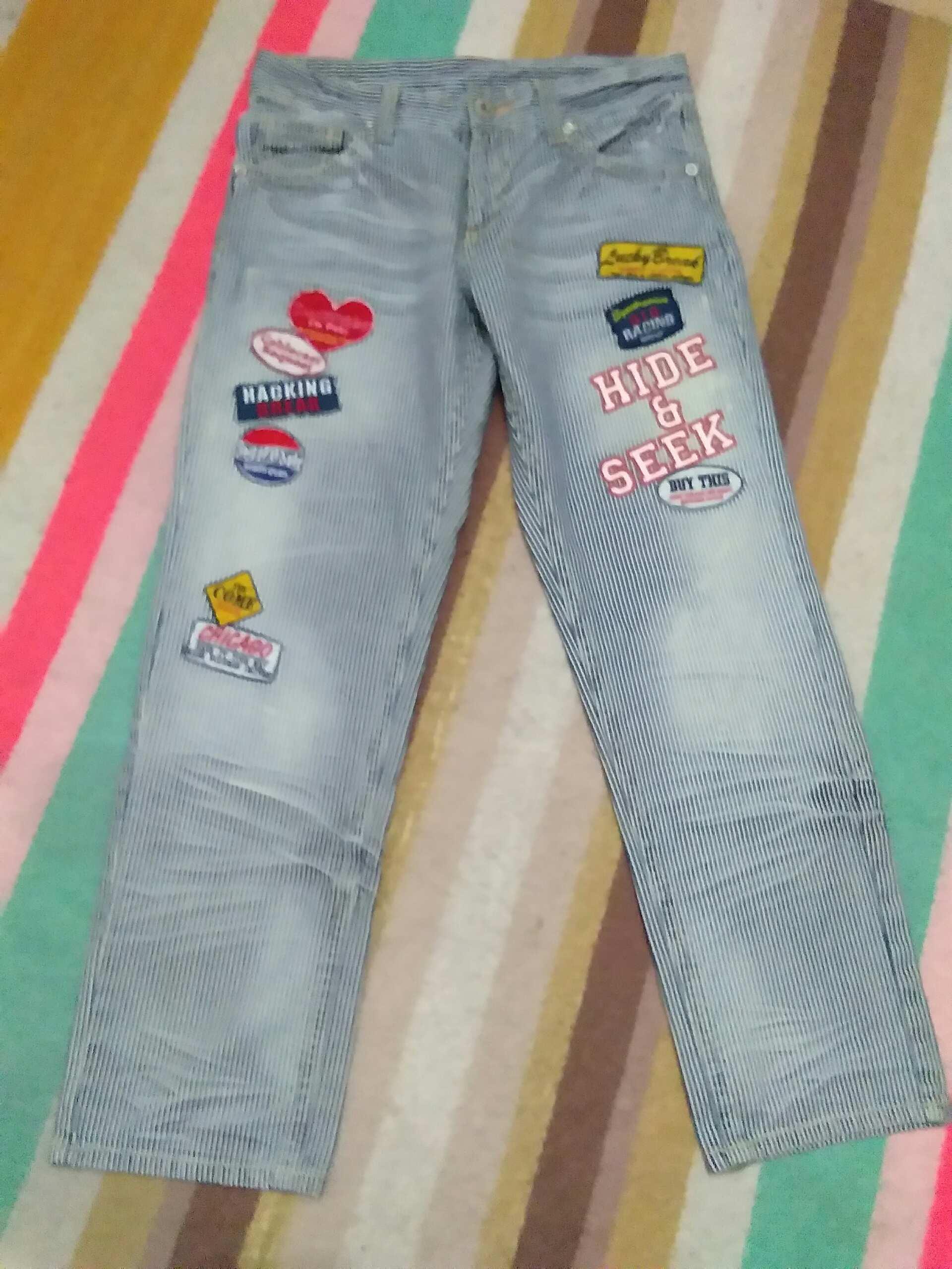 Japanese Brand Love Denim Hickory Striped Patches Hide Seek Denim Jeans