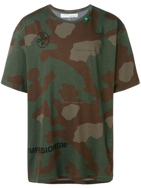 MADE IN ITALY Camouflage Camo Tarn T-Shirt mit Text Print weiß 36 38 40 42