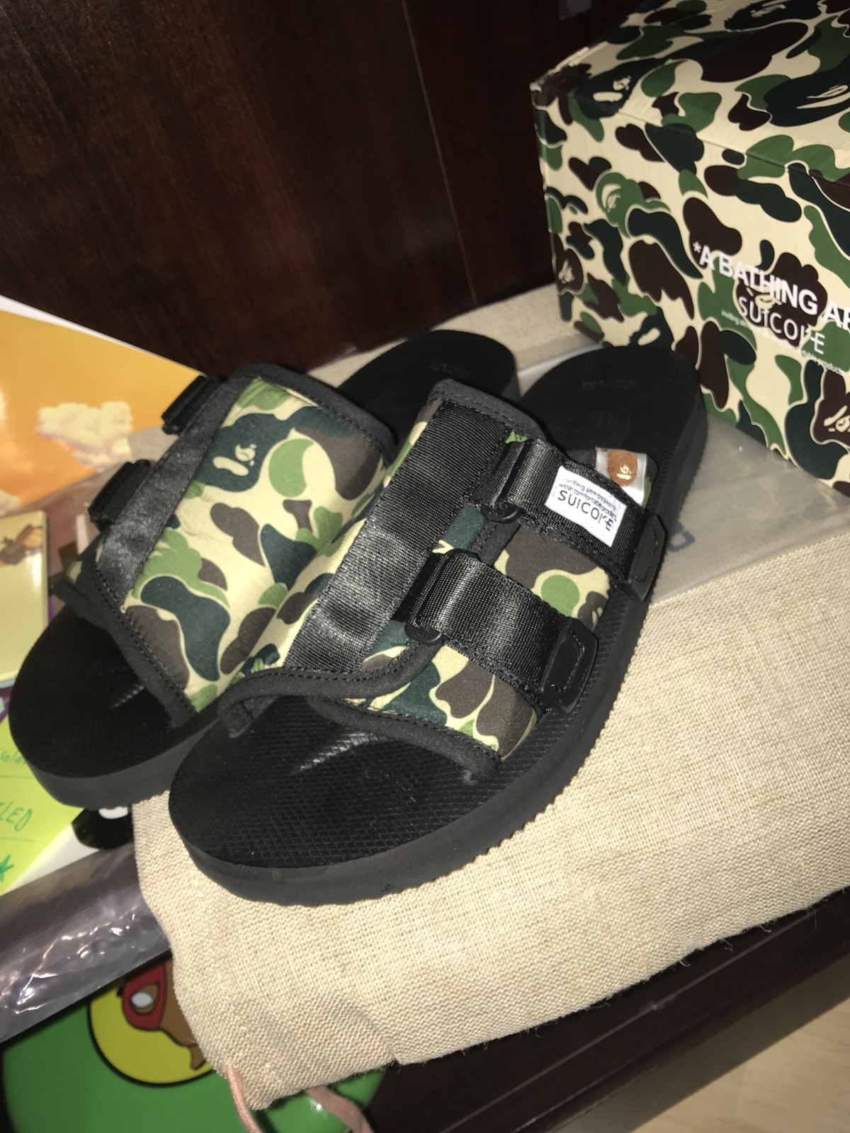 6eb3be5f2ea9 Bape Bape x Suicoke Sandals abc kaw-ape mens Black Slip Ons Green Abc Camo  Size 10 - Sandals for Sale - Grailed