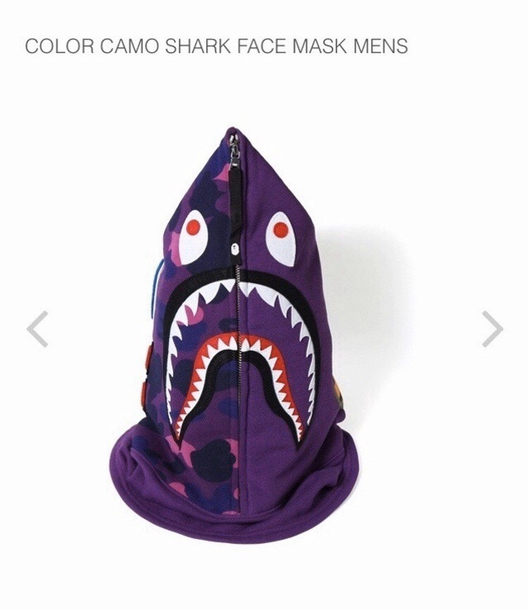 *A BATHING APE Men/'s Goods COLOR CAMO SHARK HOODIE FACE MASK 3colors Japan New
