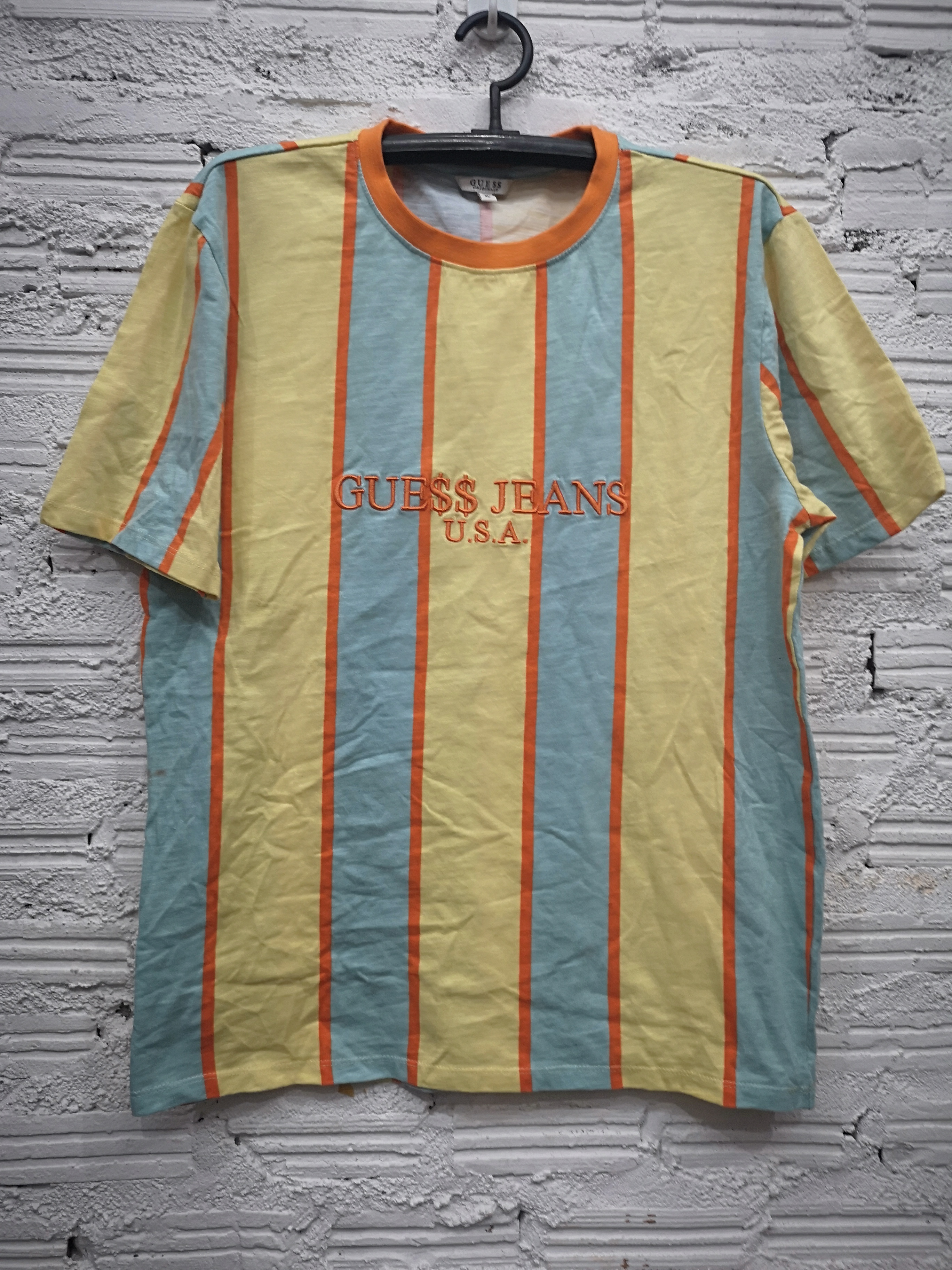e46cf9e587 Guess ×. Guess x ASAP Rocky U.S.A Limited Yellow Orange Blue Striped T Shirt  ...