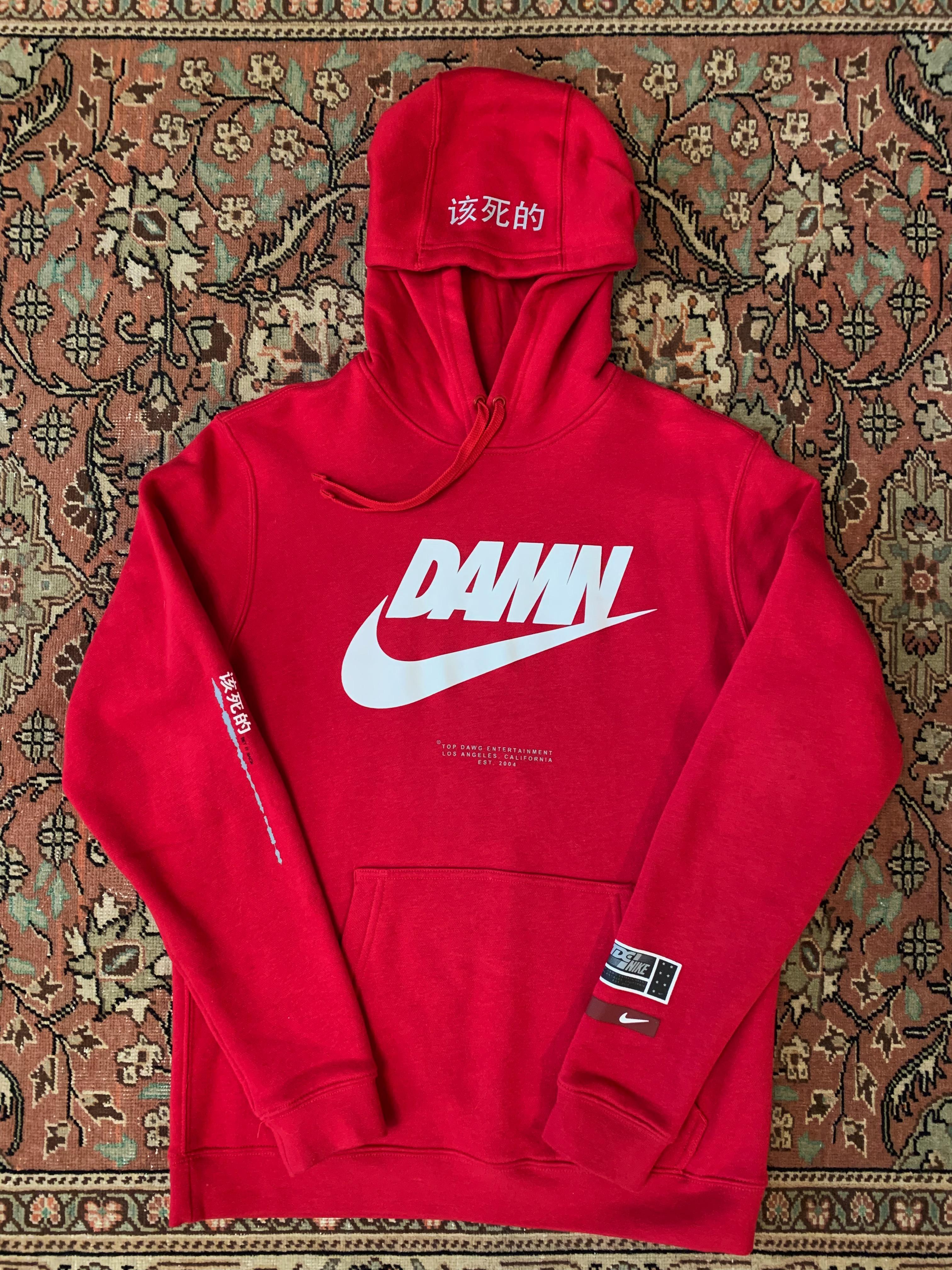 Disparates Ya pobreza  Nike Nike X Tde X Kendrick Lamar Damn Hoodie M Red | Grailed