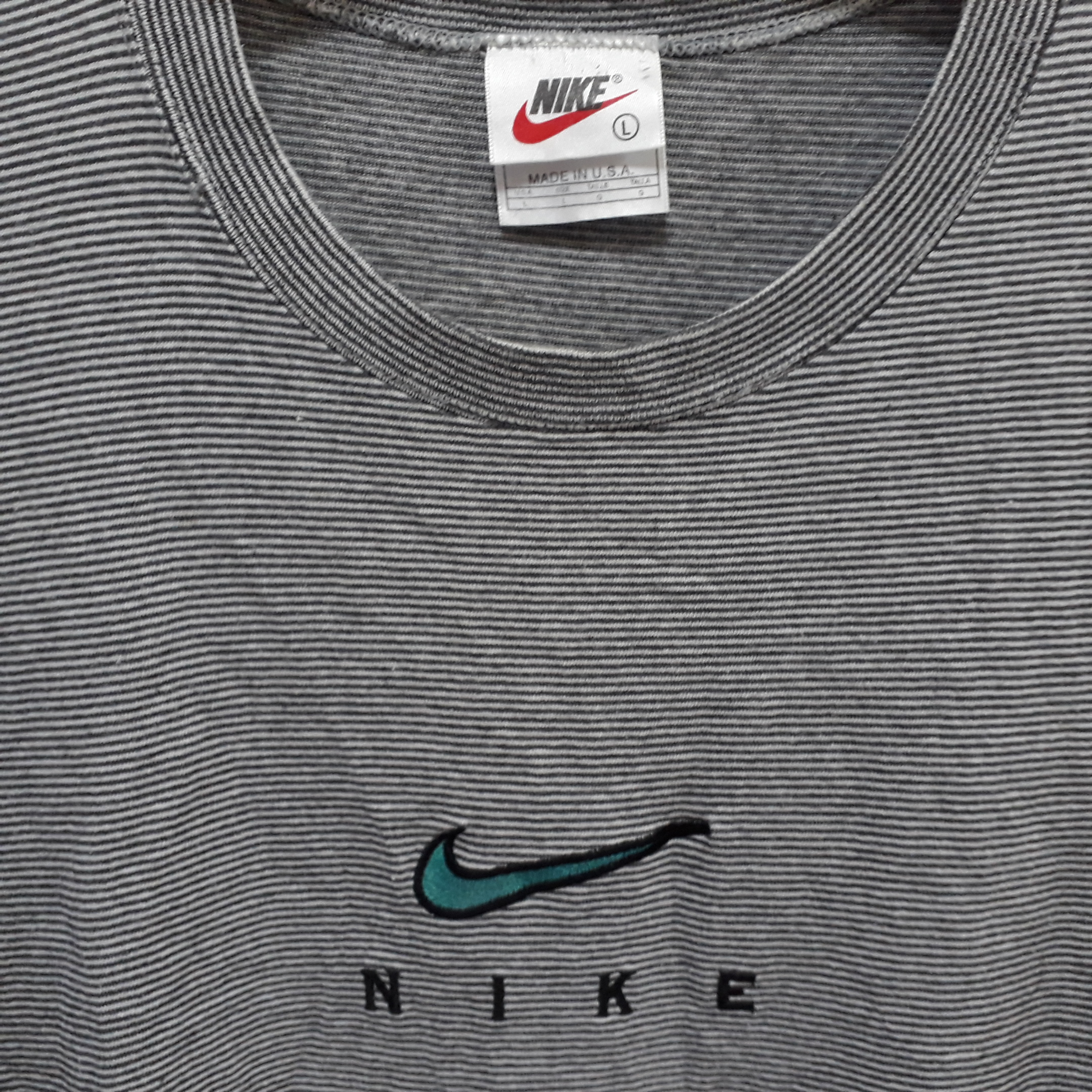 acc2fbc50 Nike. Vintage 90s NIKE Striped T Shirt Swoosh Logo Embroidered Made in USA  Air Jordan Force good condition. Size: US L / EU 52-54 ...