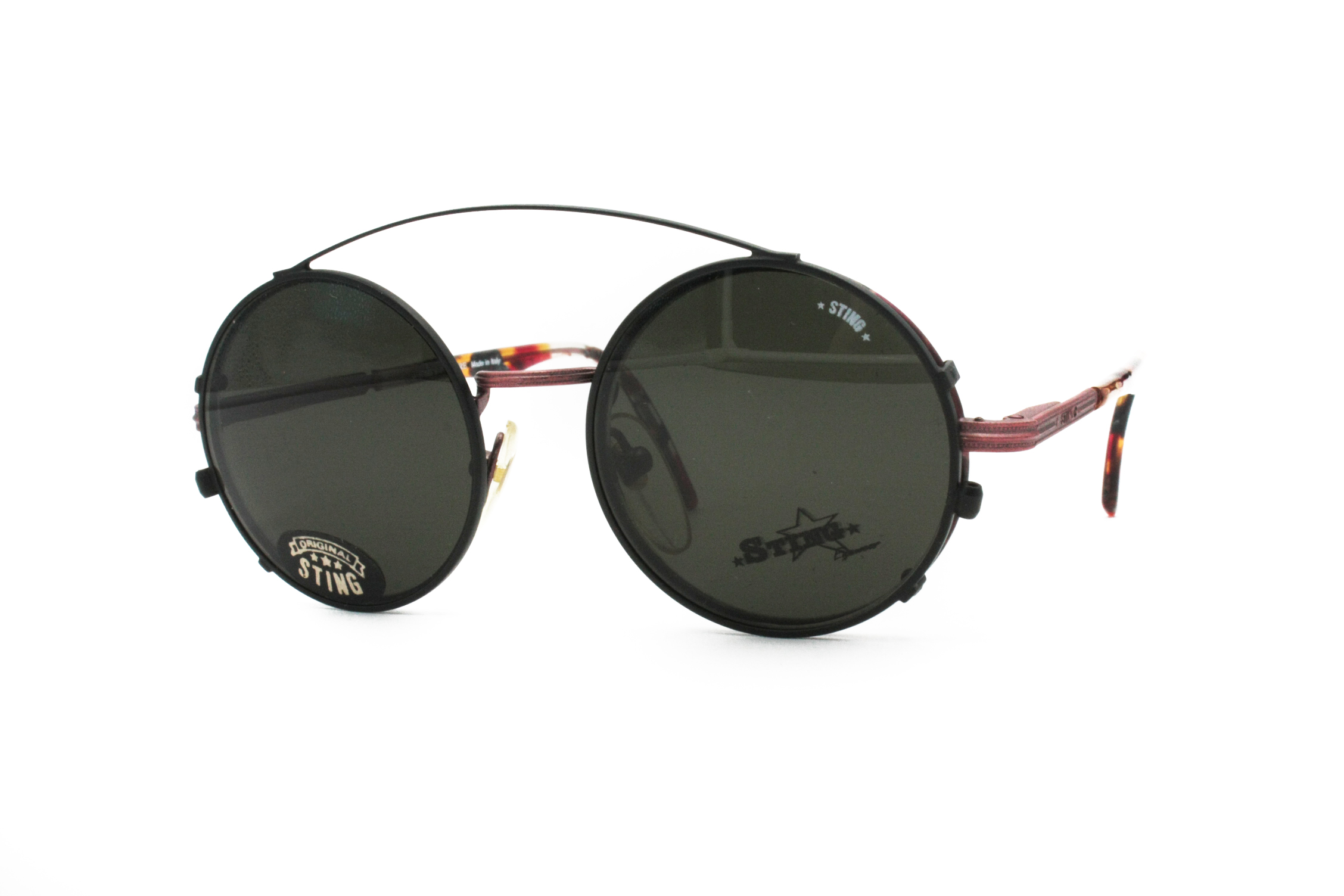 eae20ffe102 Sting Vintage STING eyewear round pantos with clip    Rare deadstock glasses  made in Italy    Pop art decoration around lenses