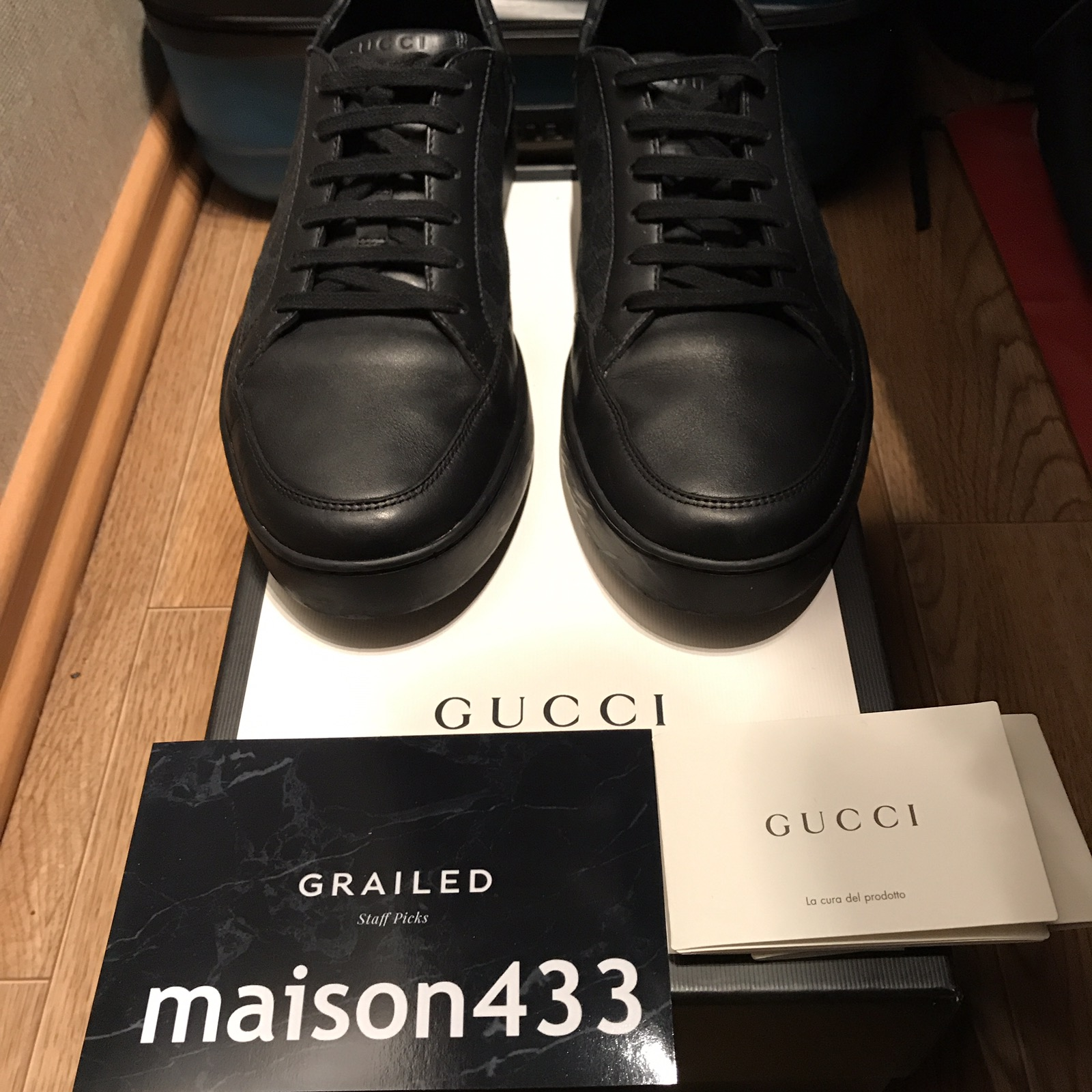 89db17a5f9be Gucci Gucci Sneakers Common Gg Supreme Guccissima Black Low Top ...
