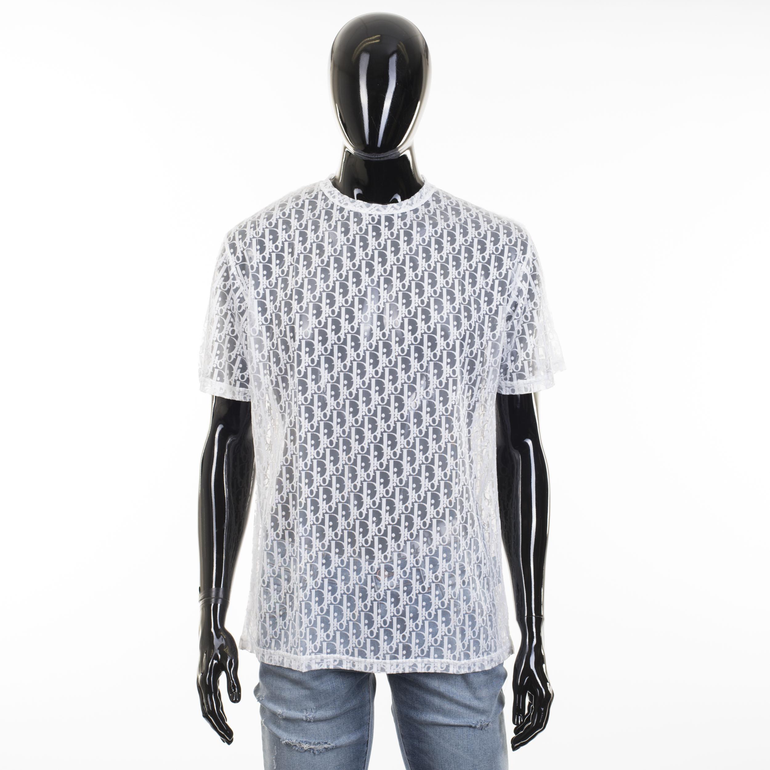 e84f5097 Dior Tshirt In White Viscose With 'dior Oblique' Devore Effect | Grailed