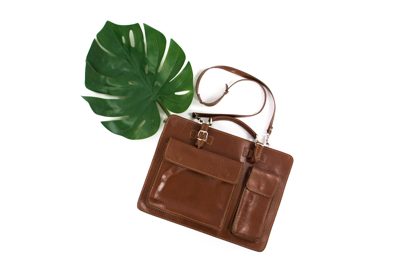 e013ee2f6b40 Vintage Brown Leather Briefcase Laptop Case Portfolio Messenger Bag