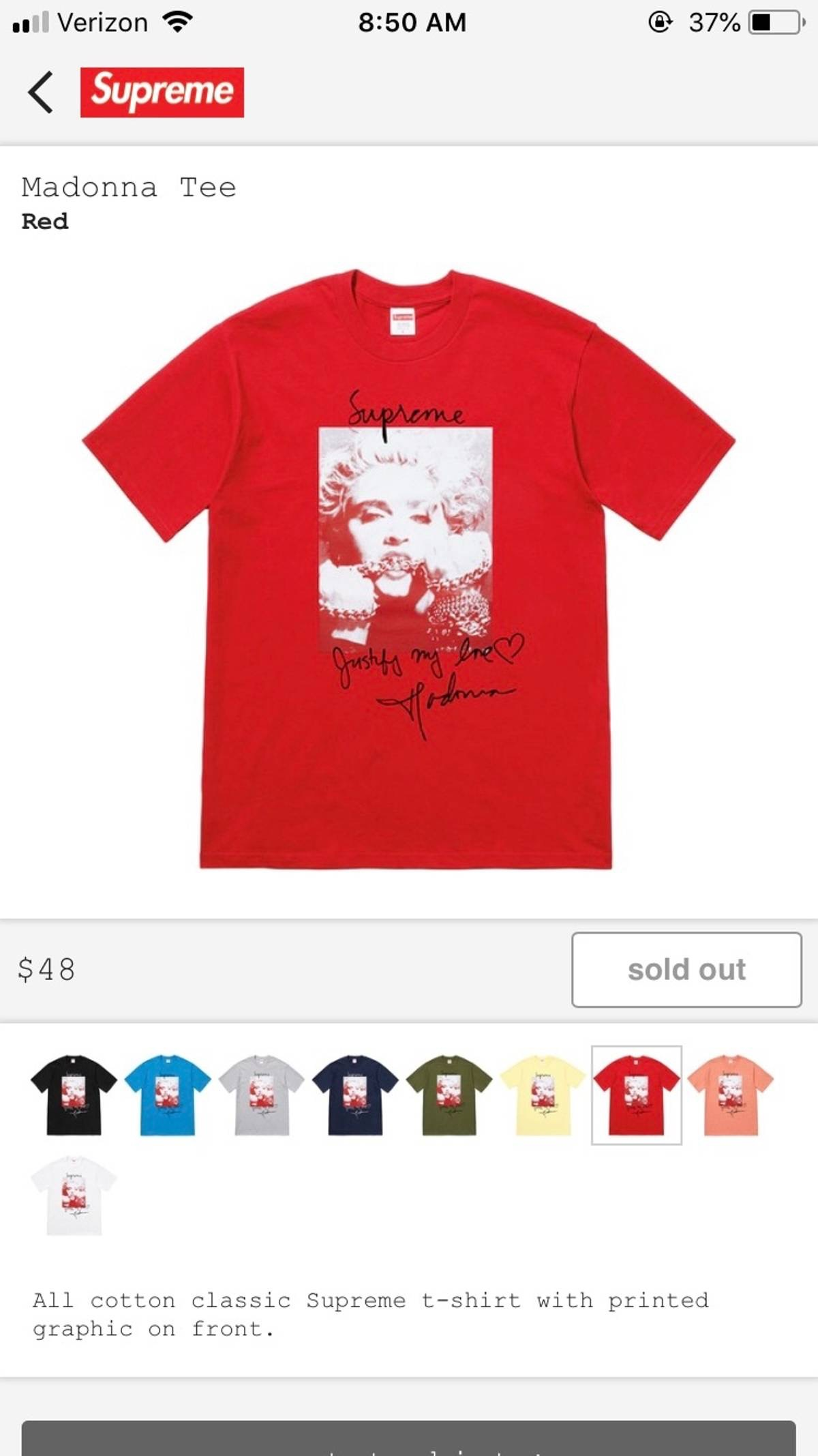 a2693dd8d Supreme 🔥supreme X Madonna Fw18 Photo Tee Size Medium (deadstock) Nwt 🔥  (not), Bape, Vintage, Gucci, Louis Vuitton, Chanel, Yeezys, Off White,  Nike, ...
