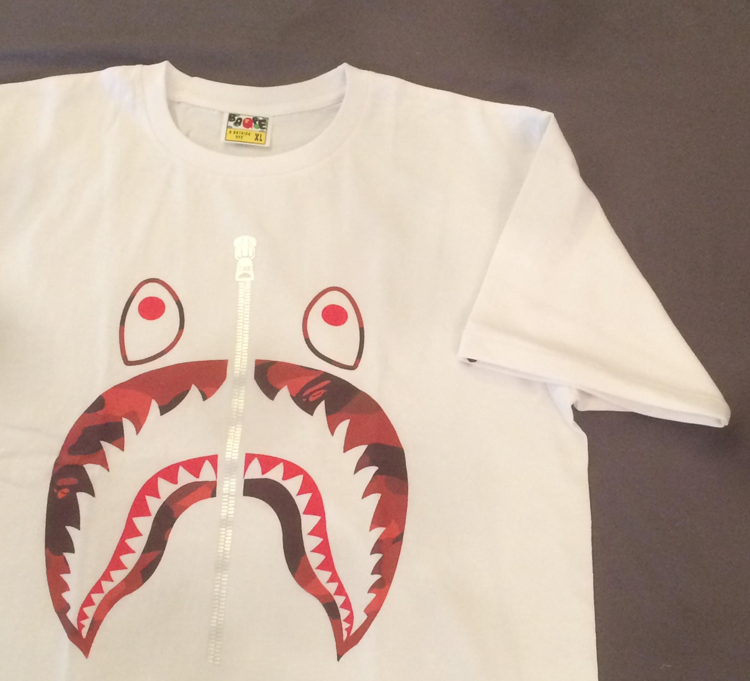 322f245f Bape ×. New Bape 1st Color Camo Shark Tee T Shirt White x Red Camo A Bathing  Ape Supreme Large. Size: US L / EU 52-54 ...