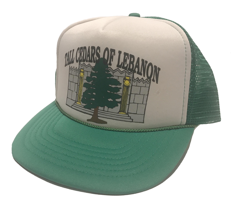 5503d4fe Vintage × Trucker Hat ×. 80s Tall Cedars of Lebanon Green Snapback Mesh ...