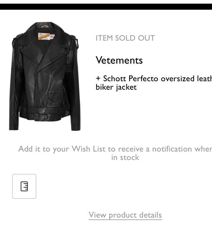 d1cae0e2f Vetements Schott Perfecto Oversized Leather Biker Jacket