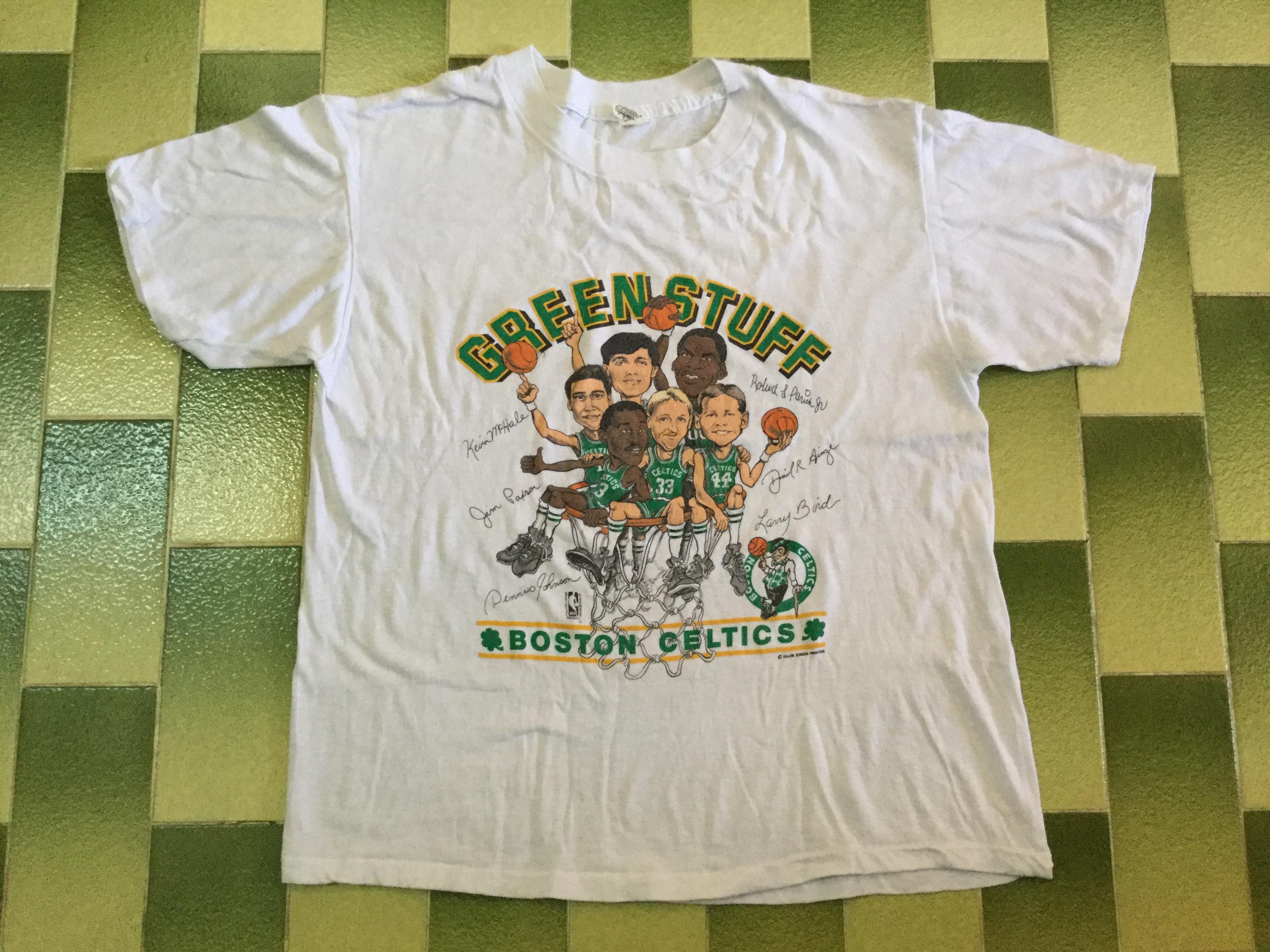 0c0834ab6670 Vintage × Nba × Made In Usa. Vintage 80s Boston Celtics Green Stuff  Caricature Larry Bird Kevin McHale t-shirt NBA basketball ...