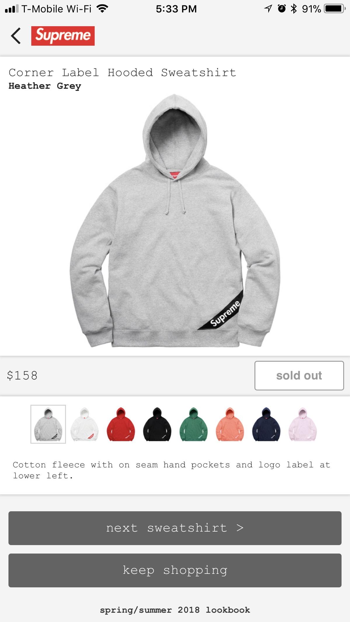 Supreme Supreme Corner Label Hooded Sweatshirt Heather Grey [ 2133 x 1199 Pixel ]
