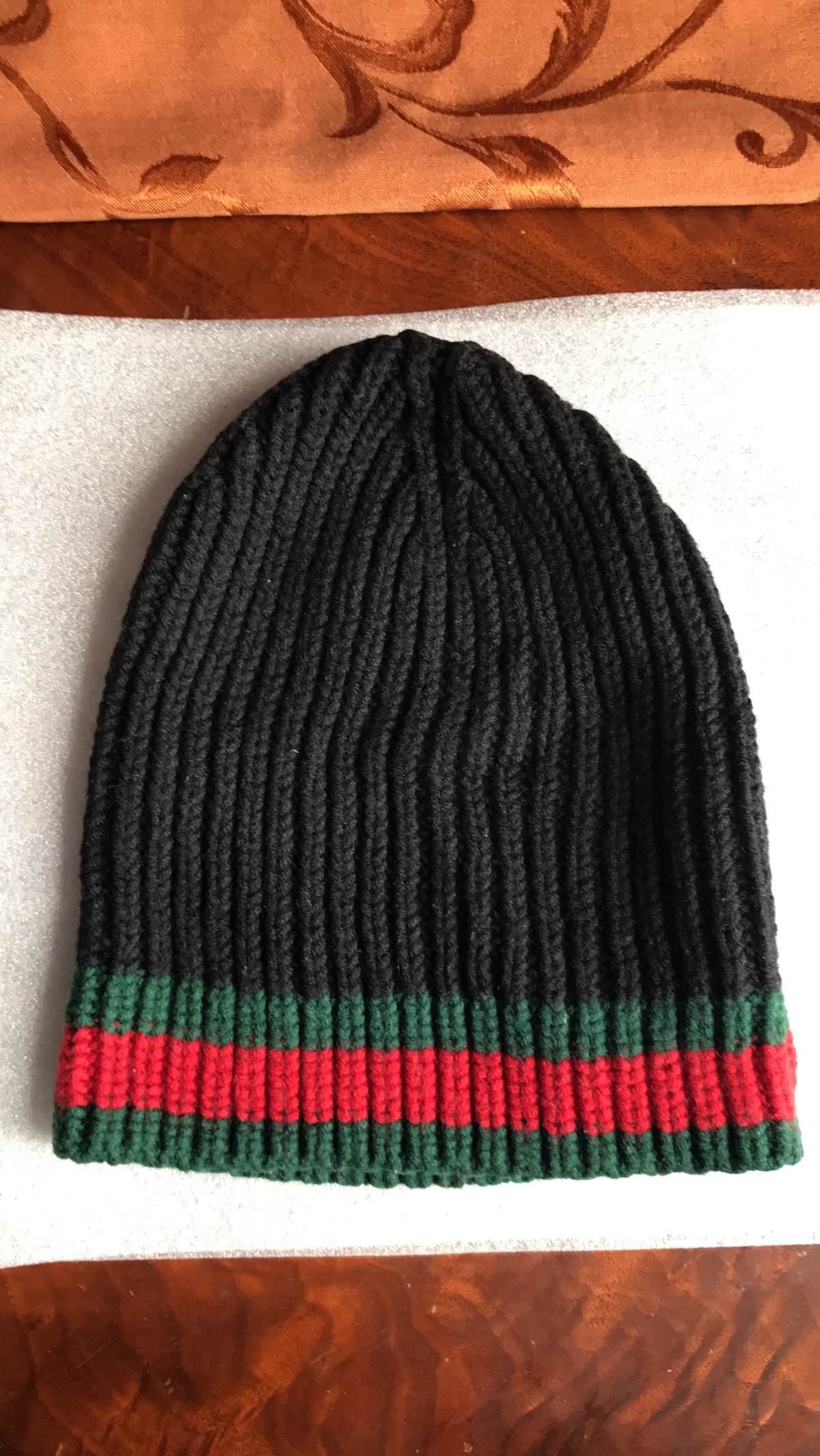 791b166d6577a Gucci Black Gucci Striped Rib Knit Wool Hat with Green Red Web Size ...