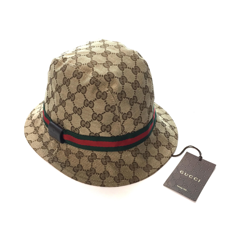 c4e50c7bcee Gucci Classic GG Monogram Web Stripe Bucket Hat NWT Size one size ...