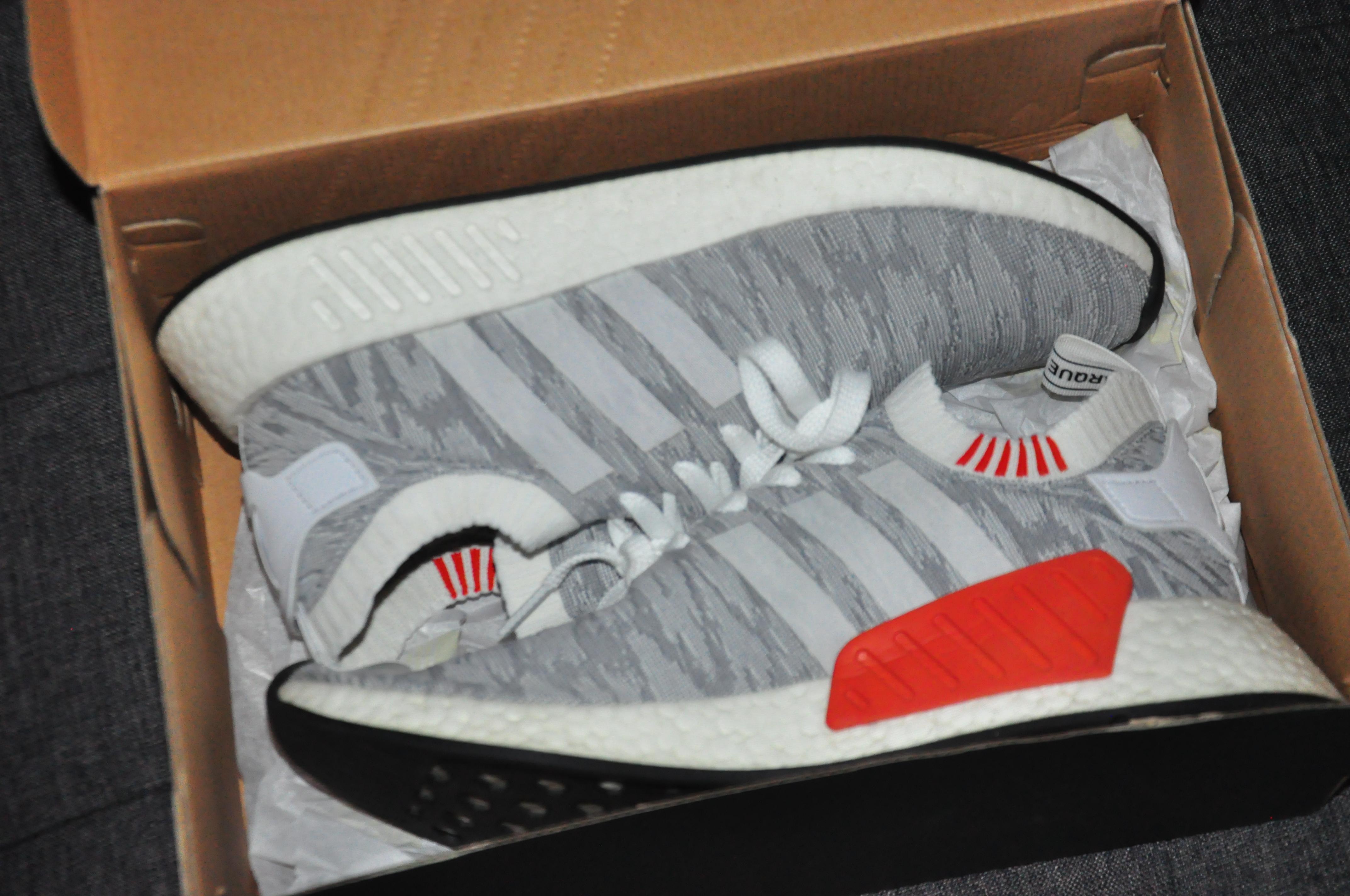 Adidas Adidas Nmd R2 Pk White Grey Brick Red Grailed