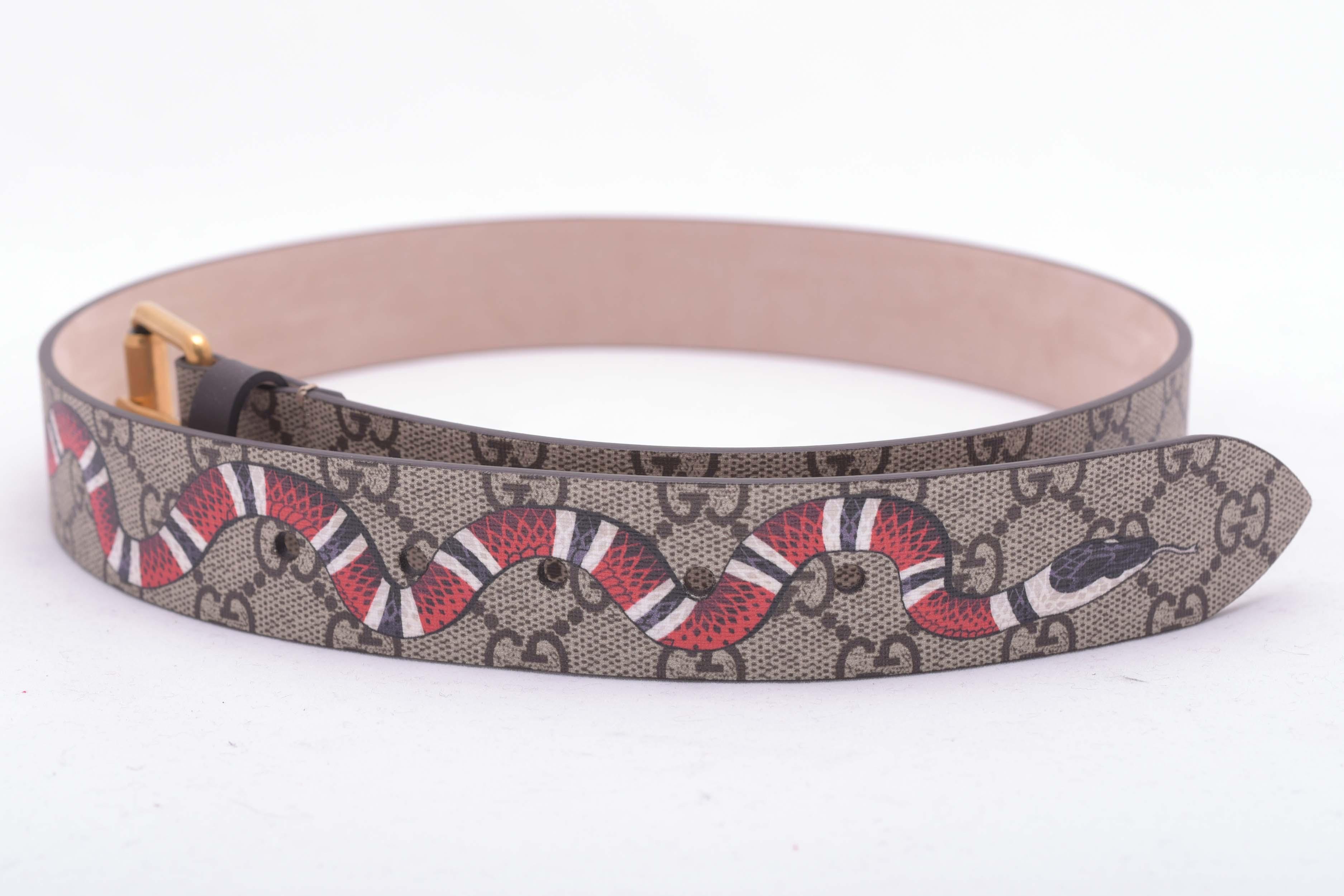 597fcabfc Gucci ×. Snake Print GG Supreme Belt. Size: 30