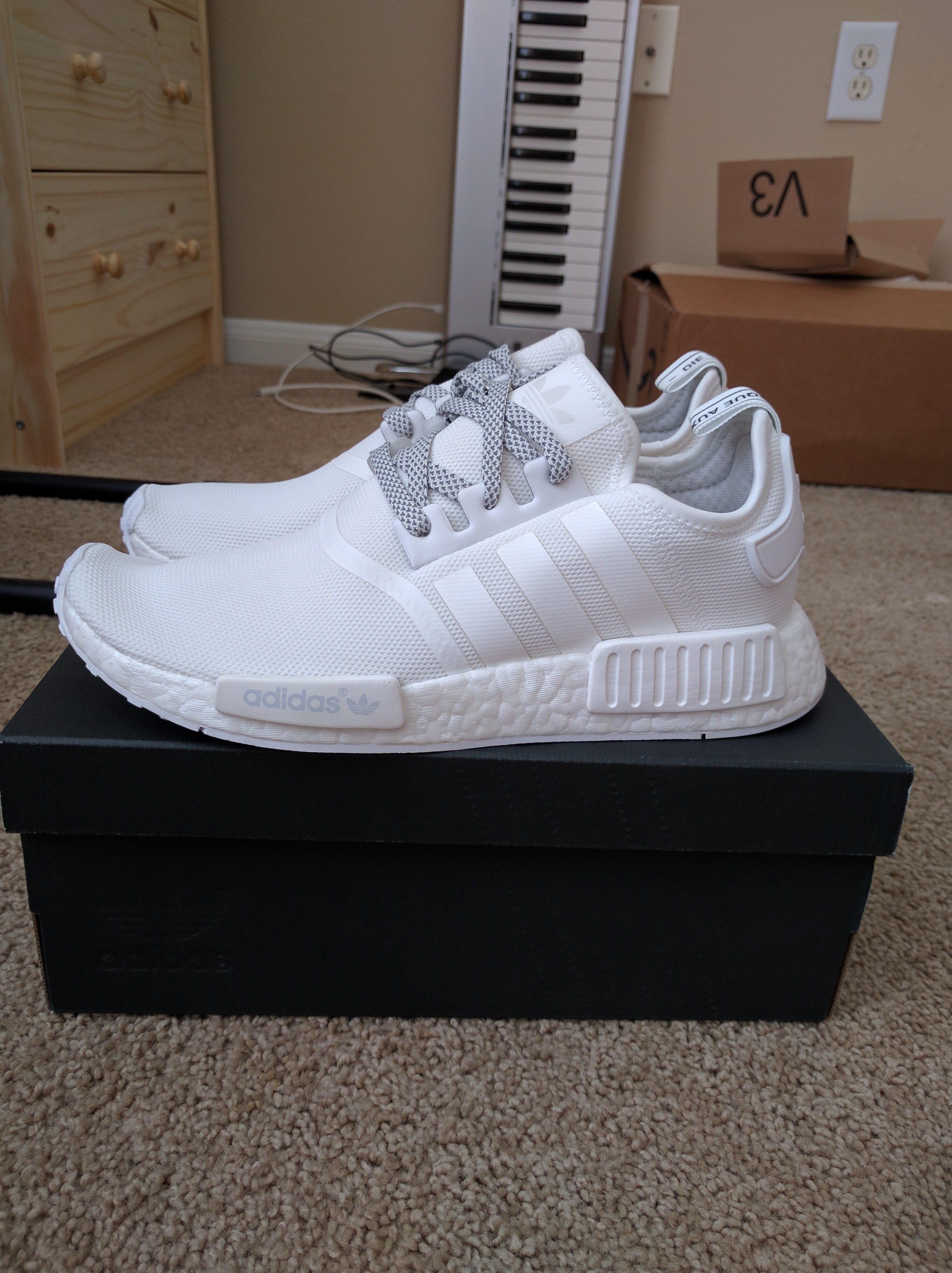 dfb40b79d5449 Adidas NMD R1 Triple White 3M Reflective S31506 Size 9 Size 9 - Low-Top  Sneakers for Sale - Grailed
