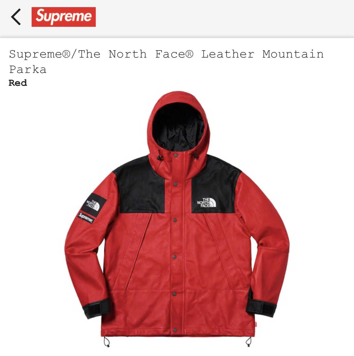 35e2aeb6be7b Supreme Supreme X The North Face Mountain Leather Parka (red) | Grailed
