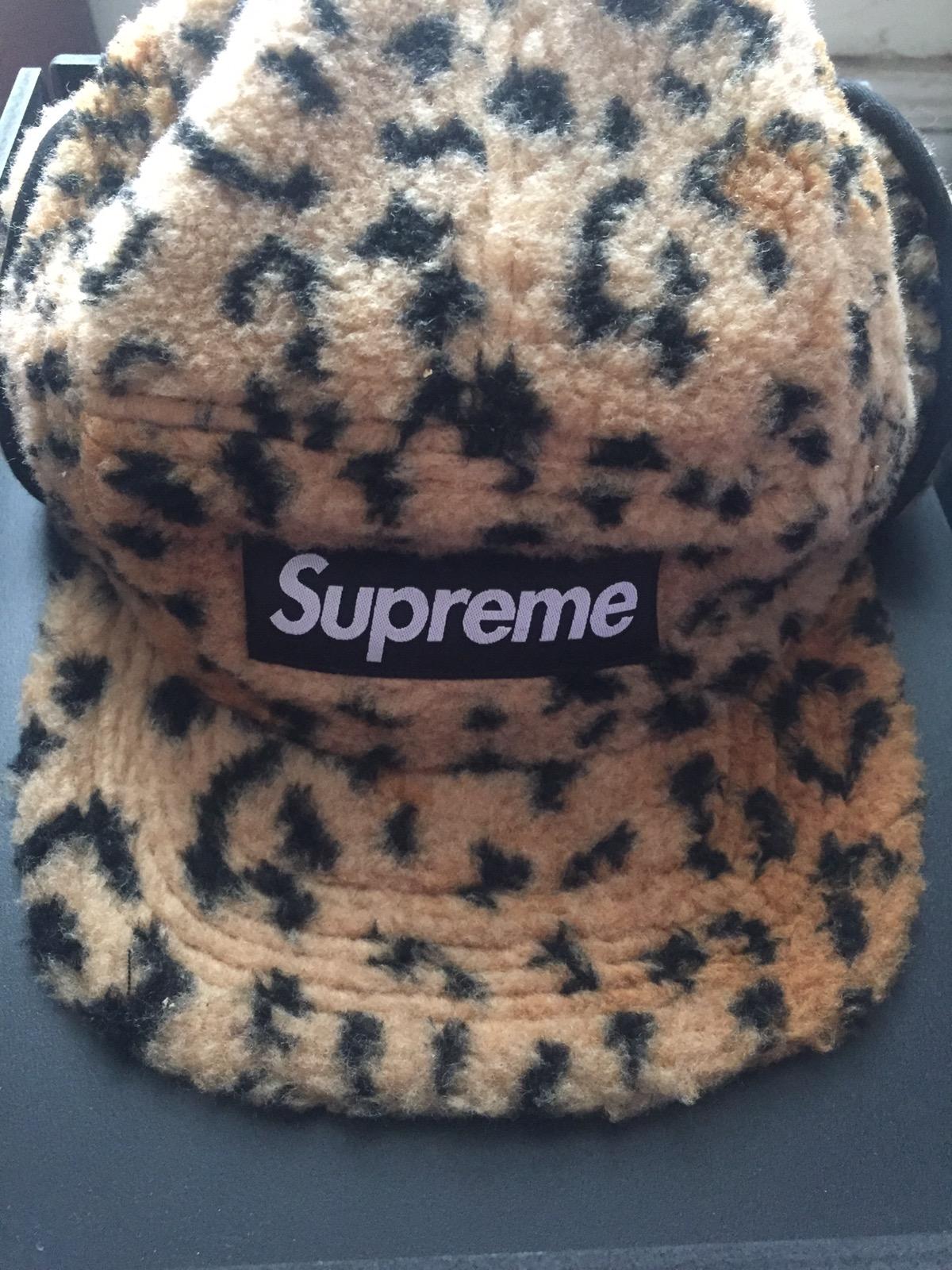 62a066f4c98 Supreme ×. Leopard Polar Fleece Earflap Camp Cap. Size  ONE SIZE