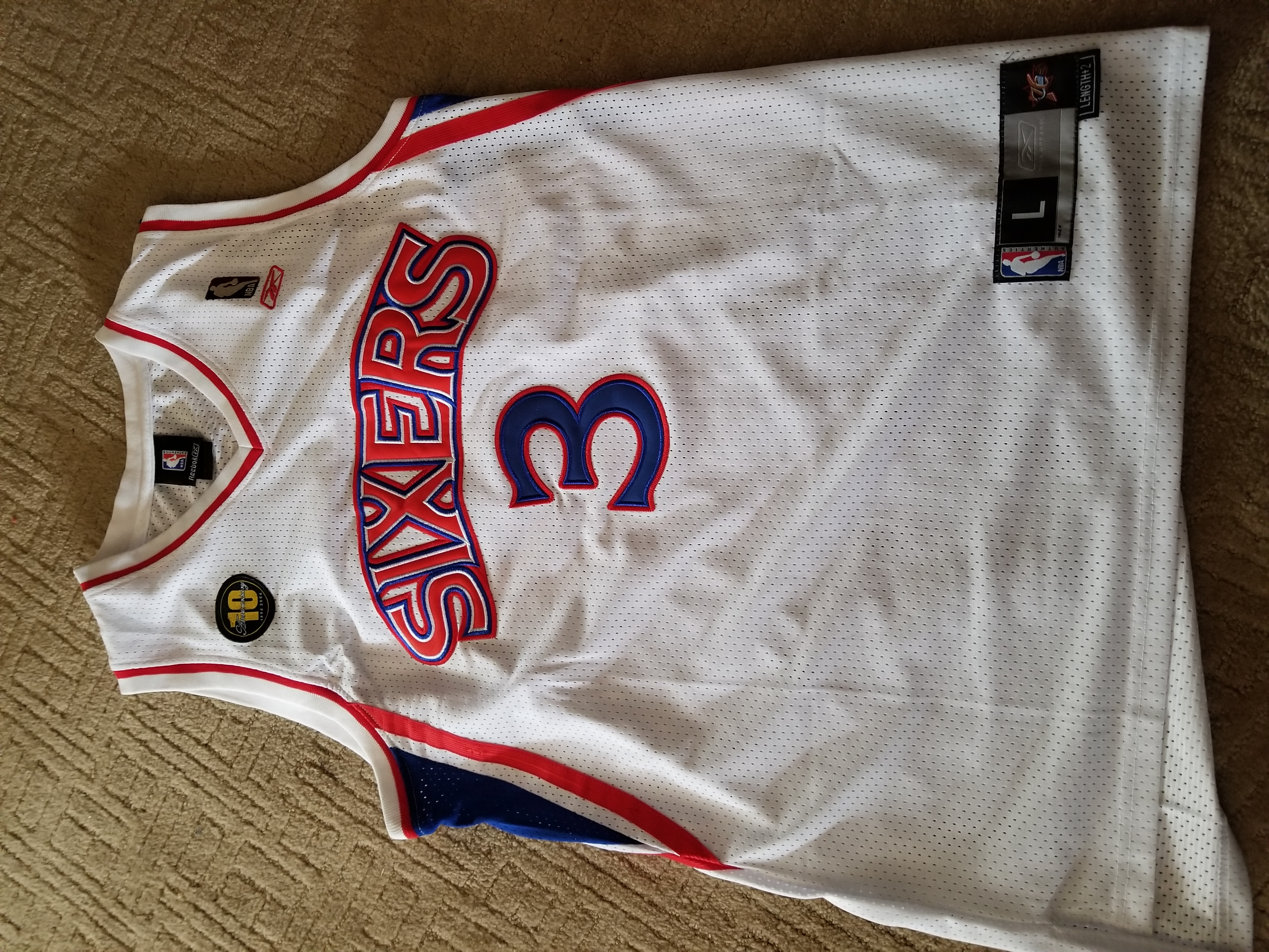 Reebok Allen Iverson Sixers Jersey 10th Anniversary Edition (Basketball)