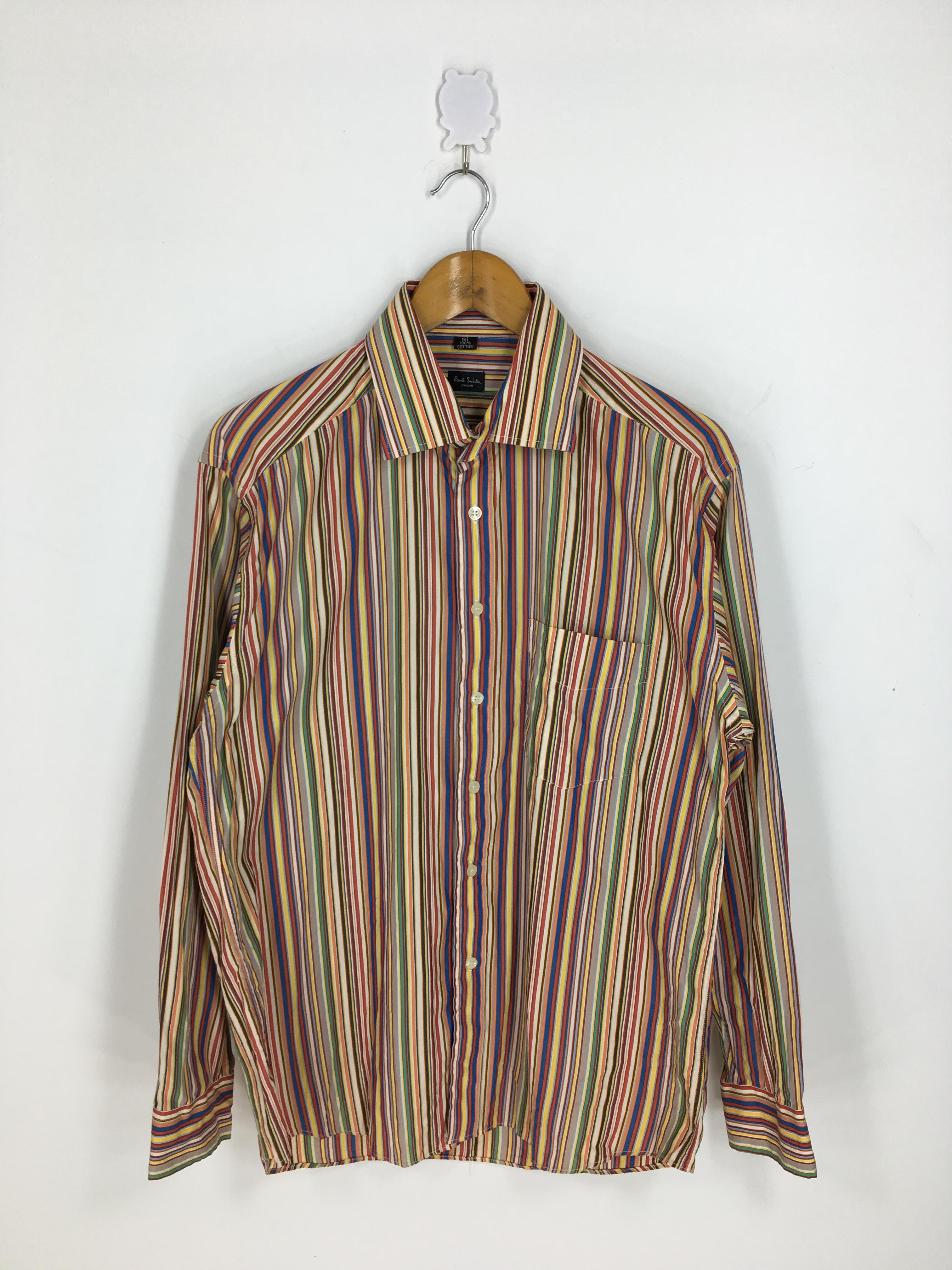 Vintage Paul Smith London Striped Multicolor Oxfords Medium Paul Smith Flannel Button Down Border Stripes Oxfords Size M