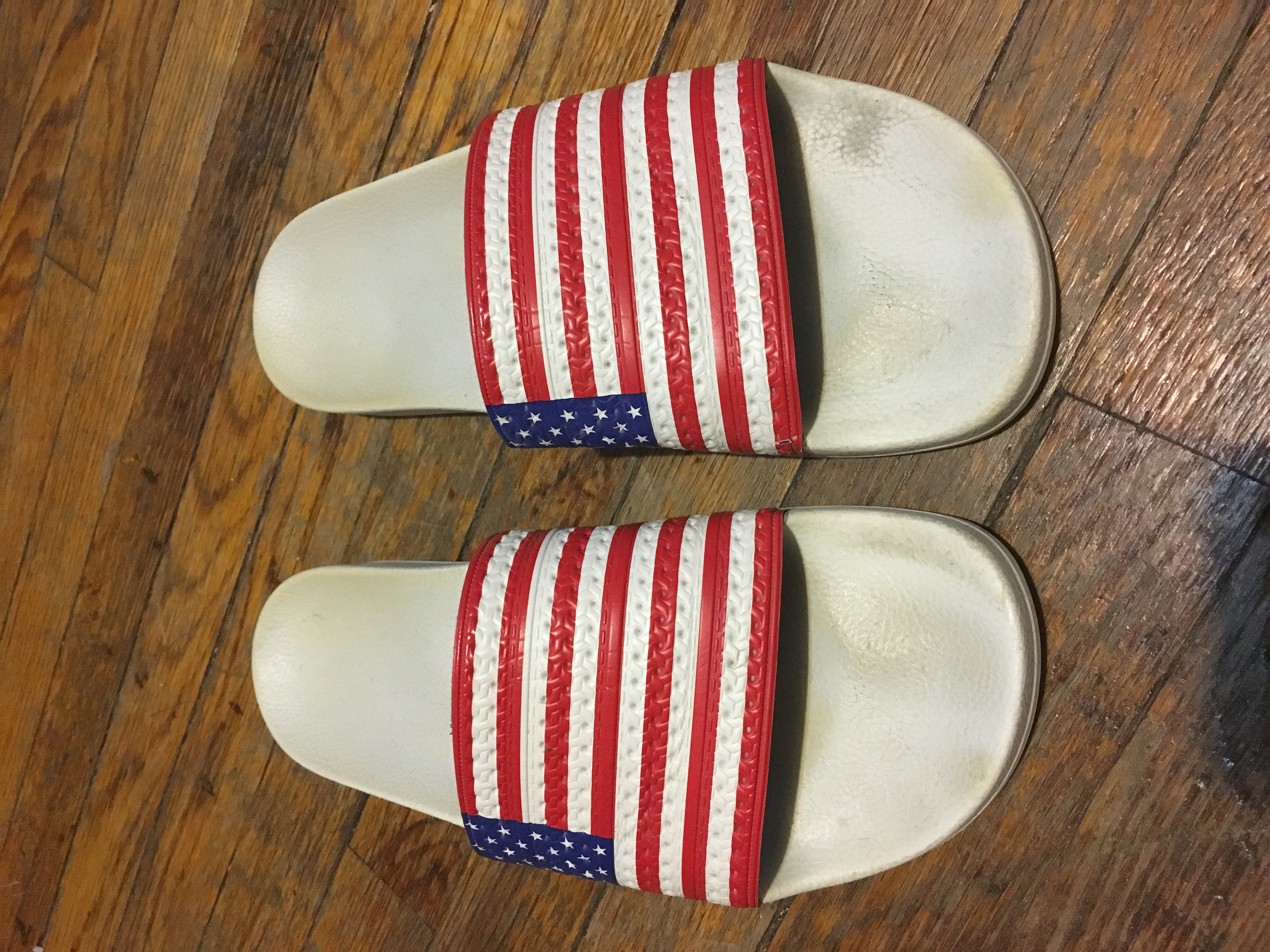 6322b559325e Adidas American flag slides Size 13 - Sandals for Sale - Grailed