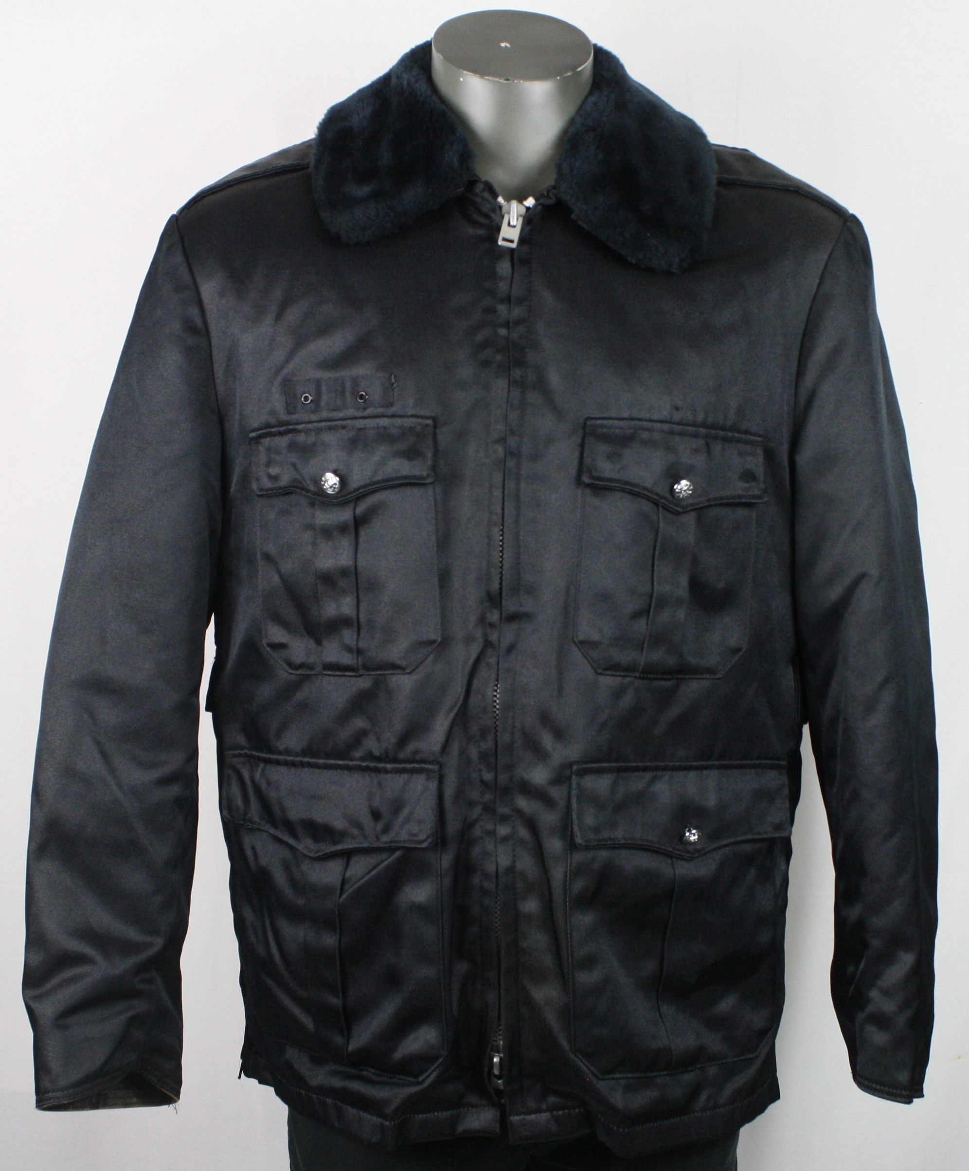 65e2e70f6a325 70s Vintage Blauer Tufnyl Police Officer Black Faux Fur Collar Coat Jacket  42R