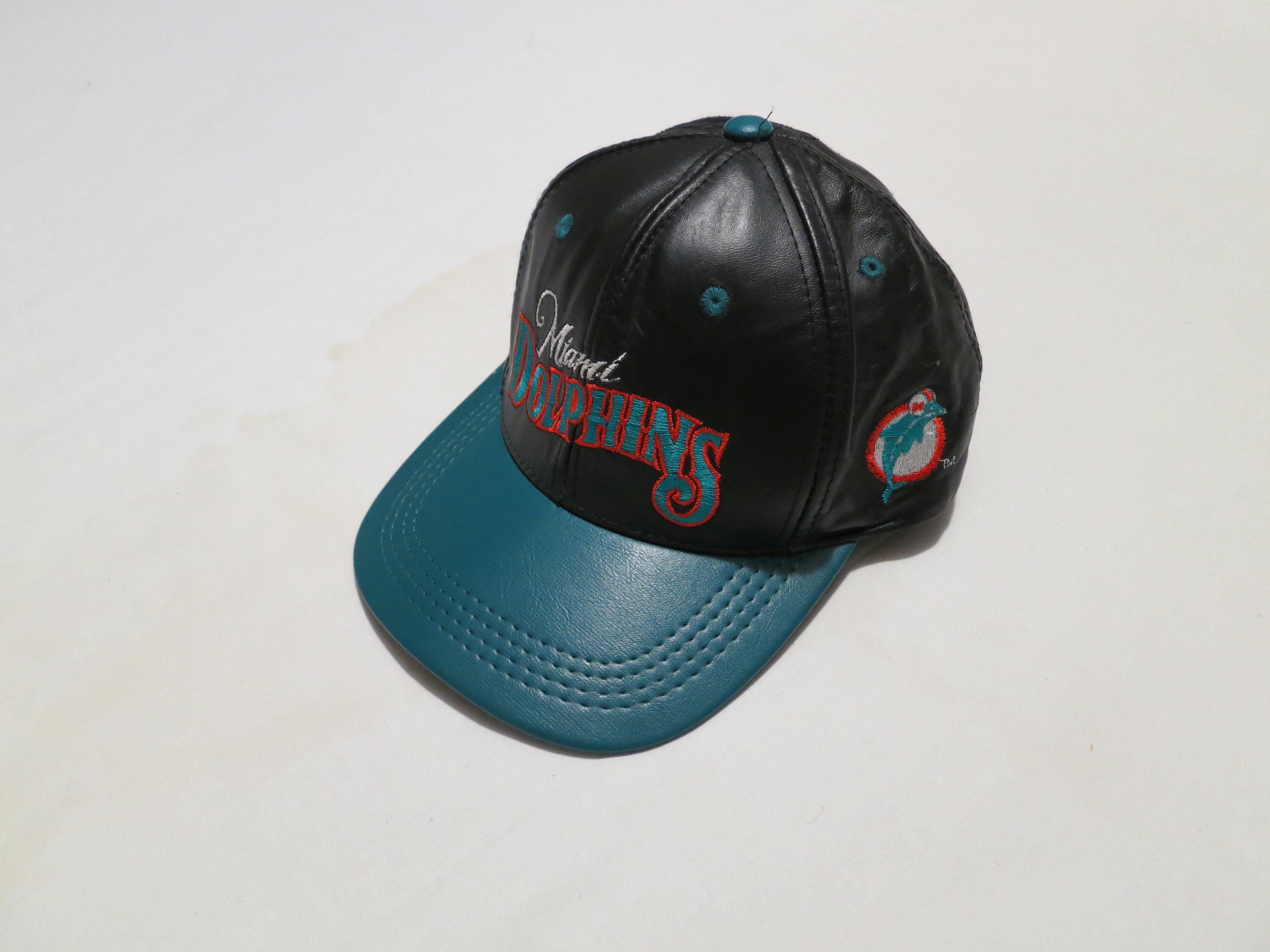 ef96c395 Vintage Miami Dolphins Team NFL football leather snapback hat
