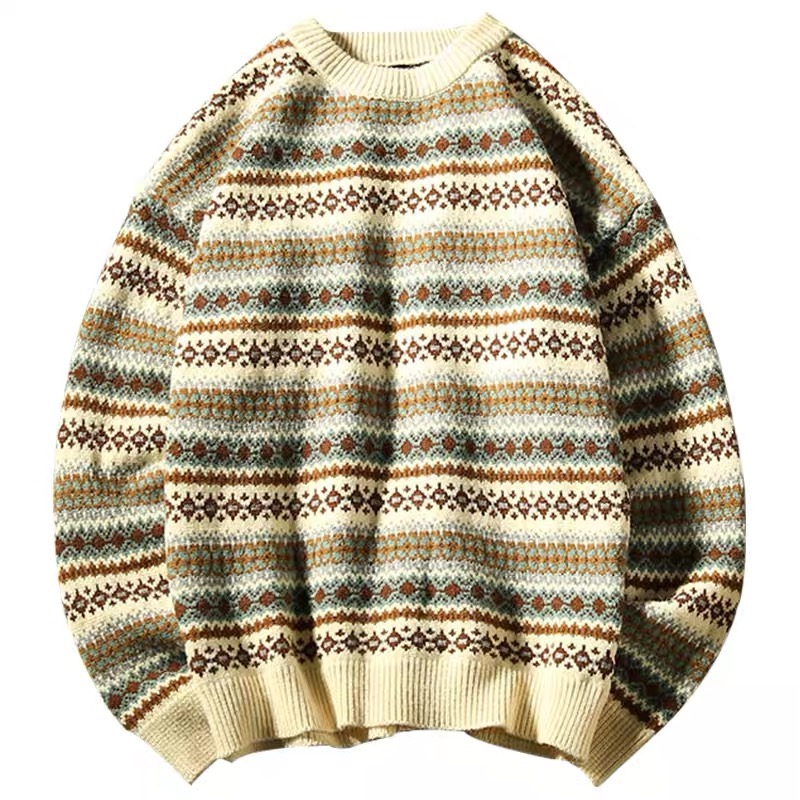 2019AW Simple Blue Japan White Vintage Striped Sweater