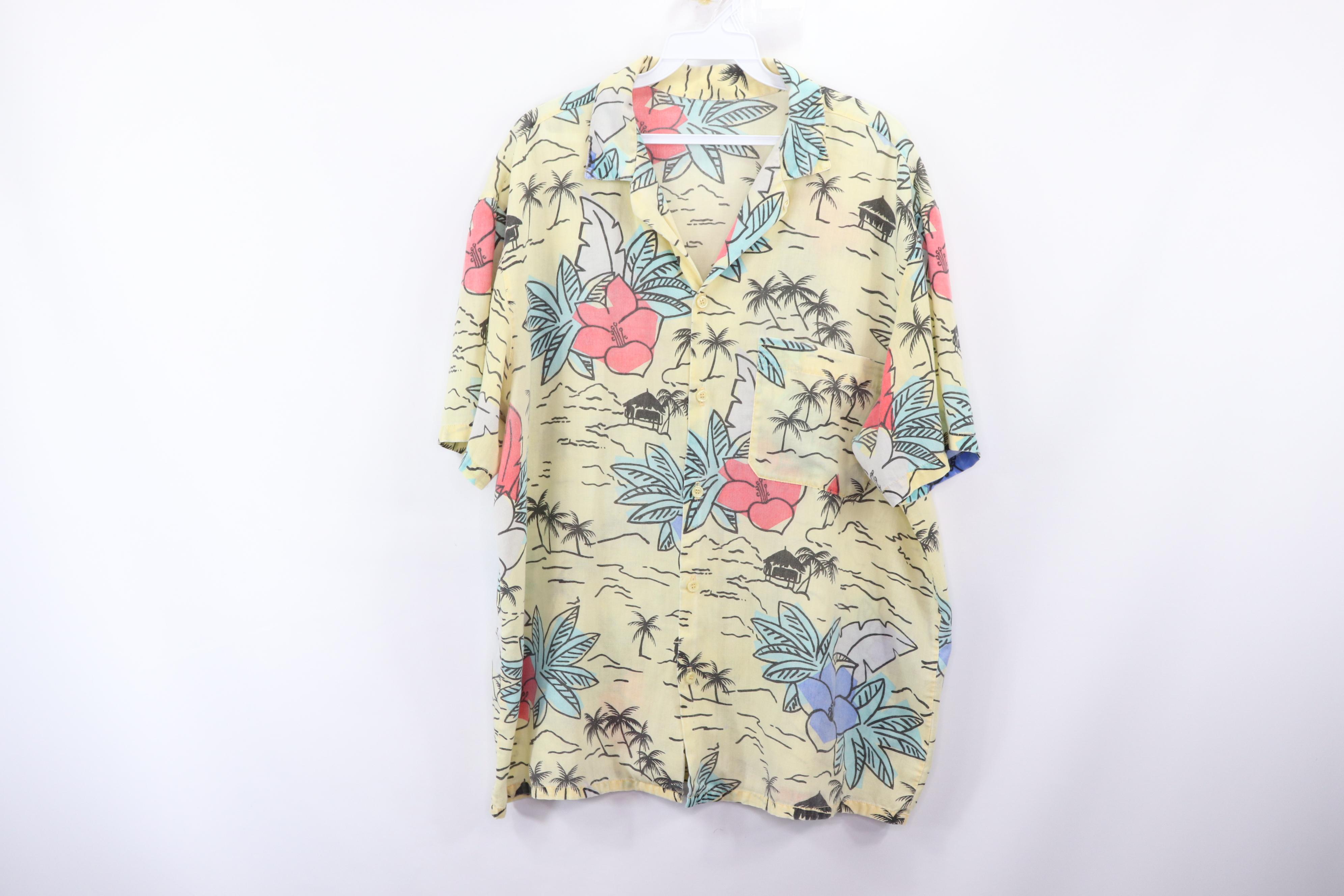c9b63297 Vintage ×. Vintage 80s Mens Large Magnum PI Floral Hawaiian Shirt Short  Sleeve Yellow USA