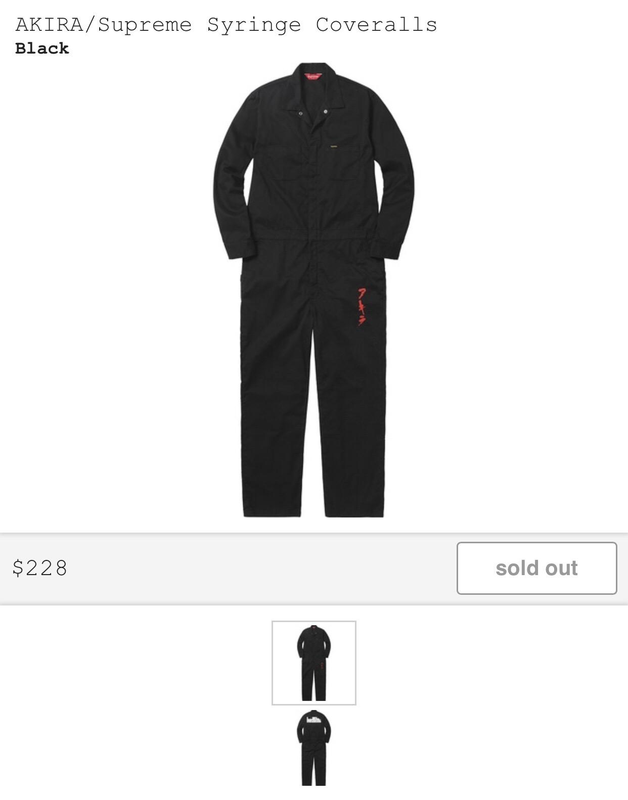 83e36832bc94 Supreme AKIRA  Supreme Syringe Coveralls Size 30 - Overalls   Jumpsuits for  Sale - Grailed