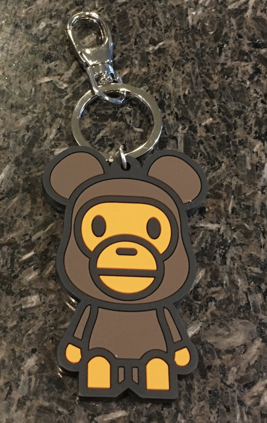 A Bathing Ape Bape with Baby Milo Brown Metal Keychain Key Ring Bag Accessory