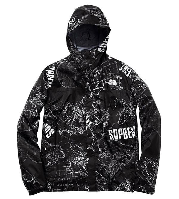 The North Face Black L Supreme X Ss2012 Venture Map Windbreaker Shirt