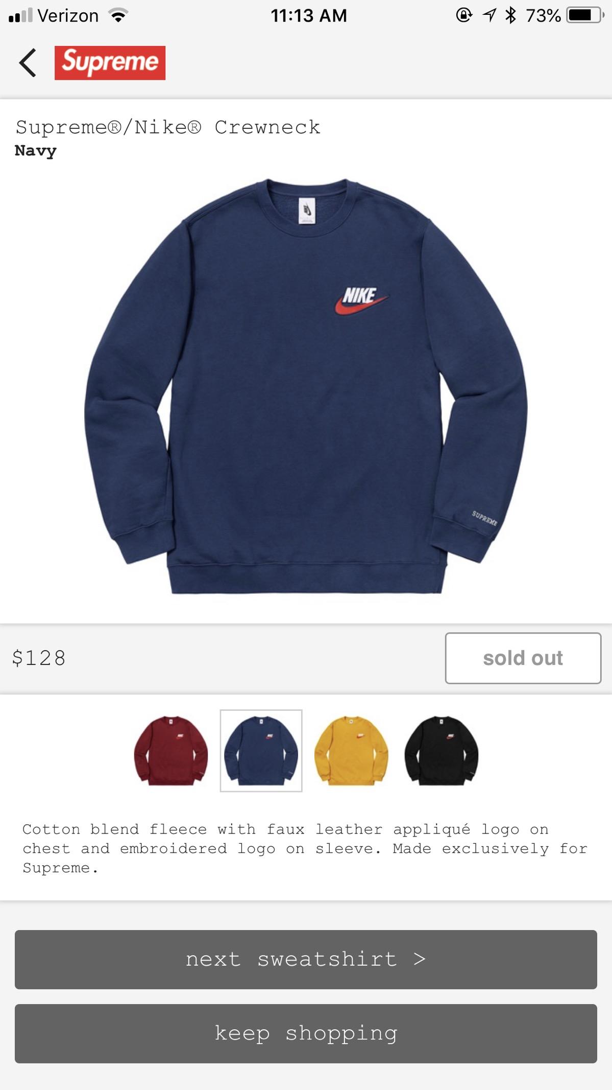 1c7efd73 Supreme Supreme Nike Crewneck Sweatshirt | Grailed
