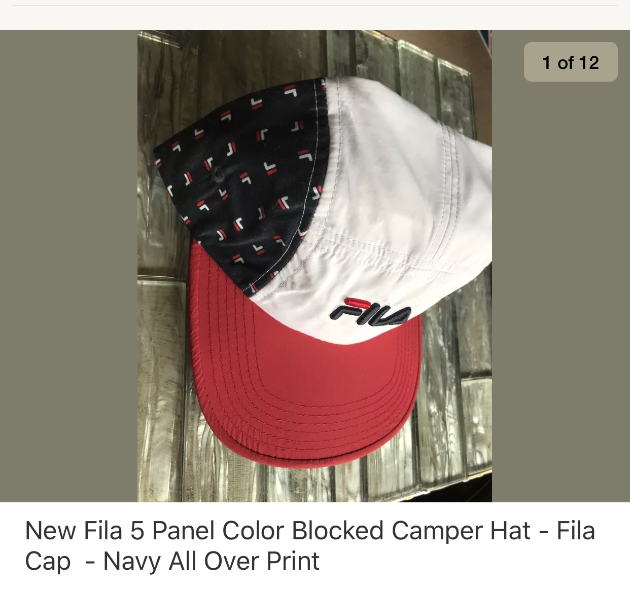 be92ff8f42b Fila New Navy All Over Five Panel Camp Hat Size one size - Hats for Sale -  Grailed