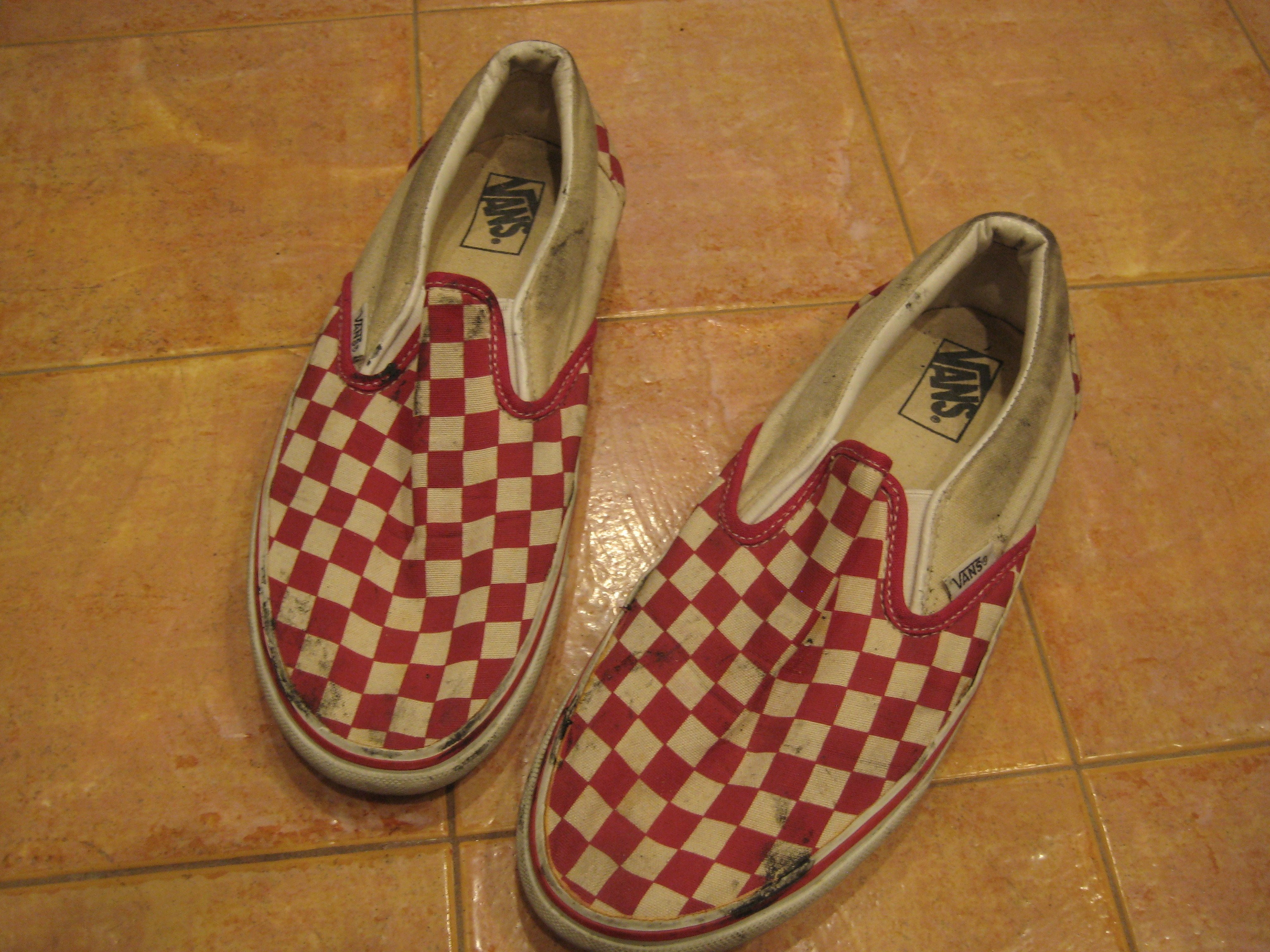 Trashed and distressed Vans red checkerboard size 9