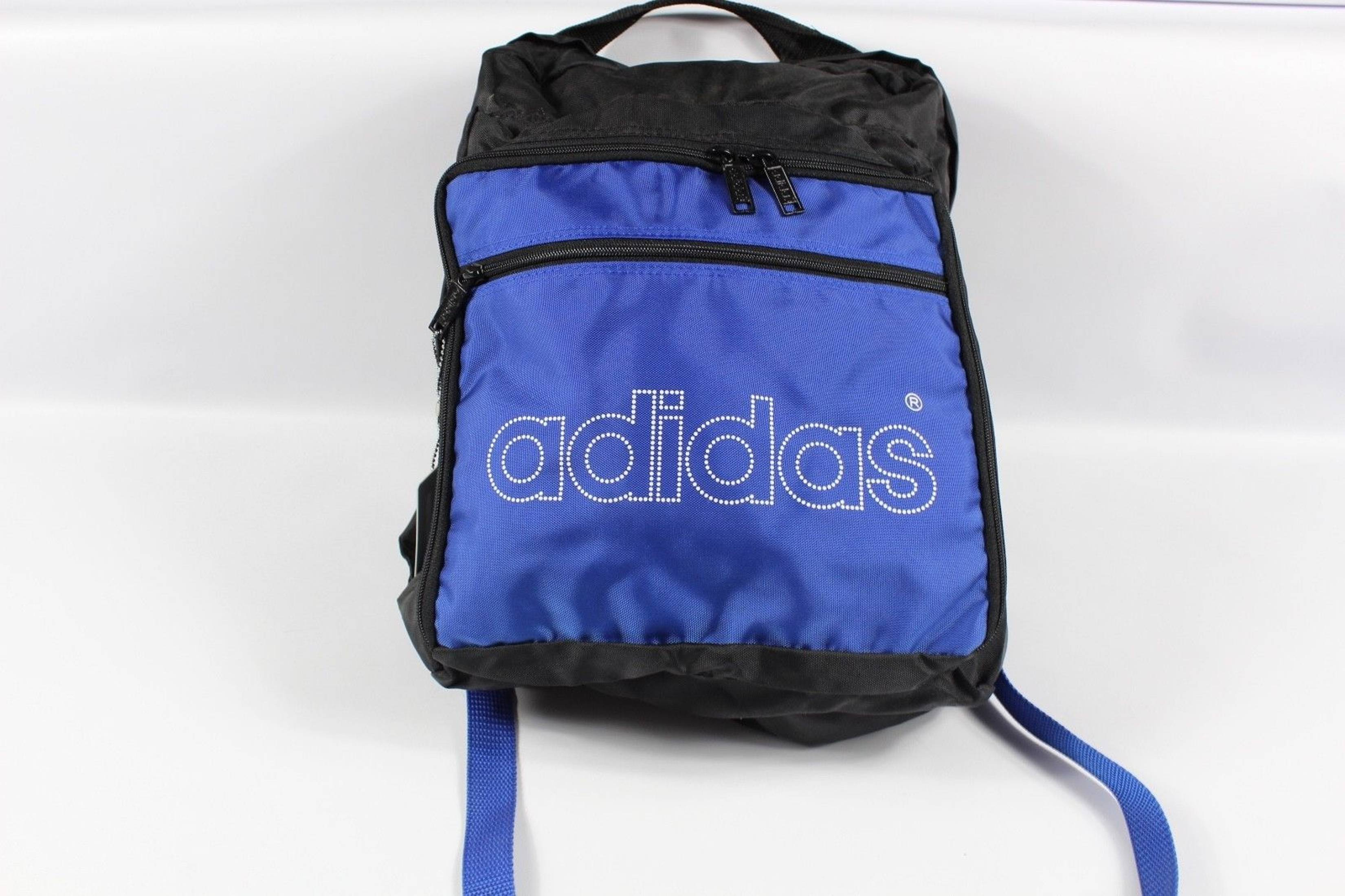 4509b143b9 Adidas New Vintage 80s Adidas Spell Out Trefoil Nylon Backpack Book Bag  Black Blue Size one size - Bags   Luggage for Sale - Grailed