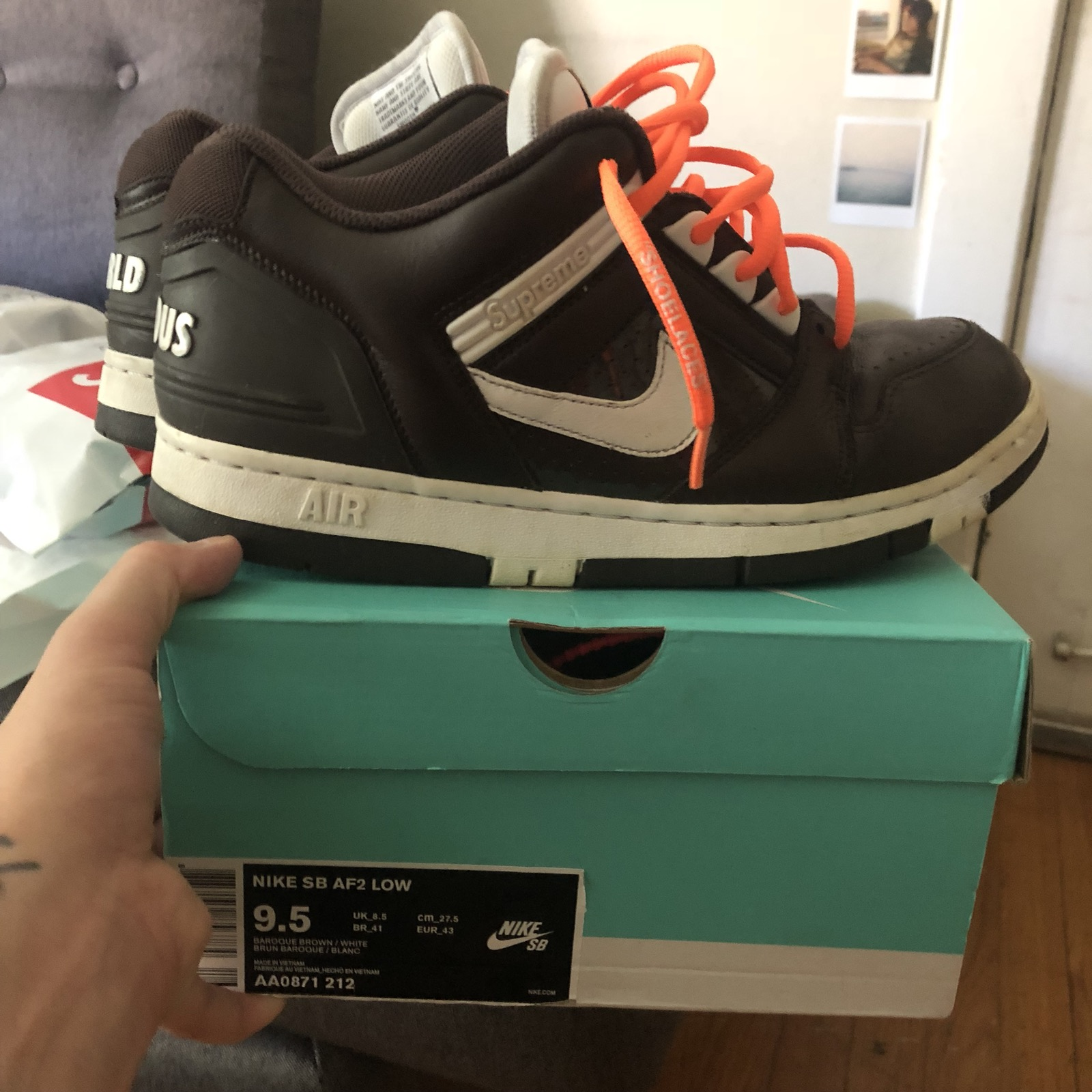 buy online 8f0f0 473b4 Supreme Supreme Nike SB Air Force 2 Brown 9.5 Size 9.5 - Low-Top Sneakers  for Sale - Grailed